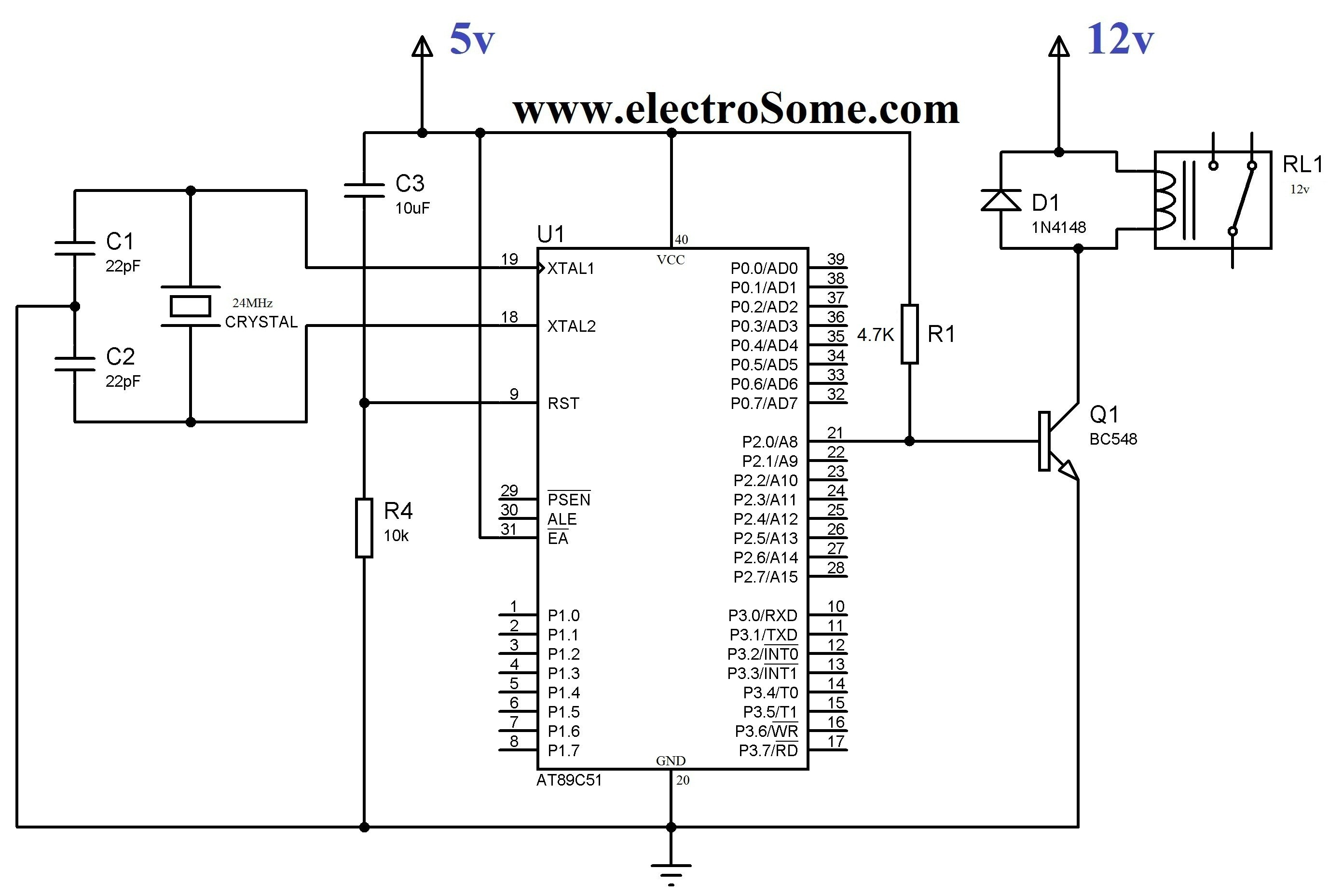 12 Volt Relay Wiring Diagram Interfacing Relay with Using Keil C at89c51 Transistor Circuit Of 12 Volt Relay Wiring Diagram