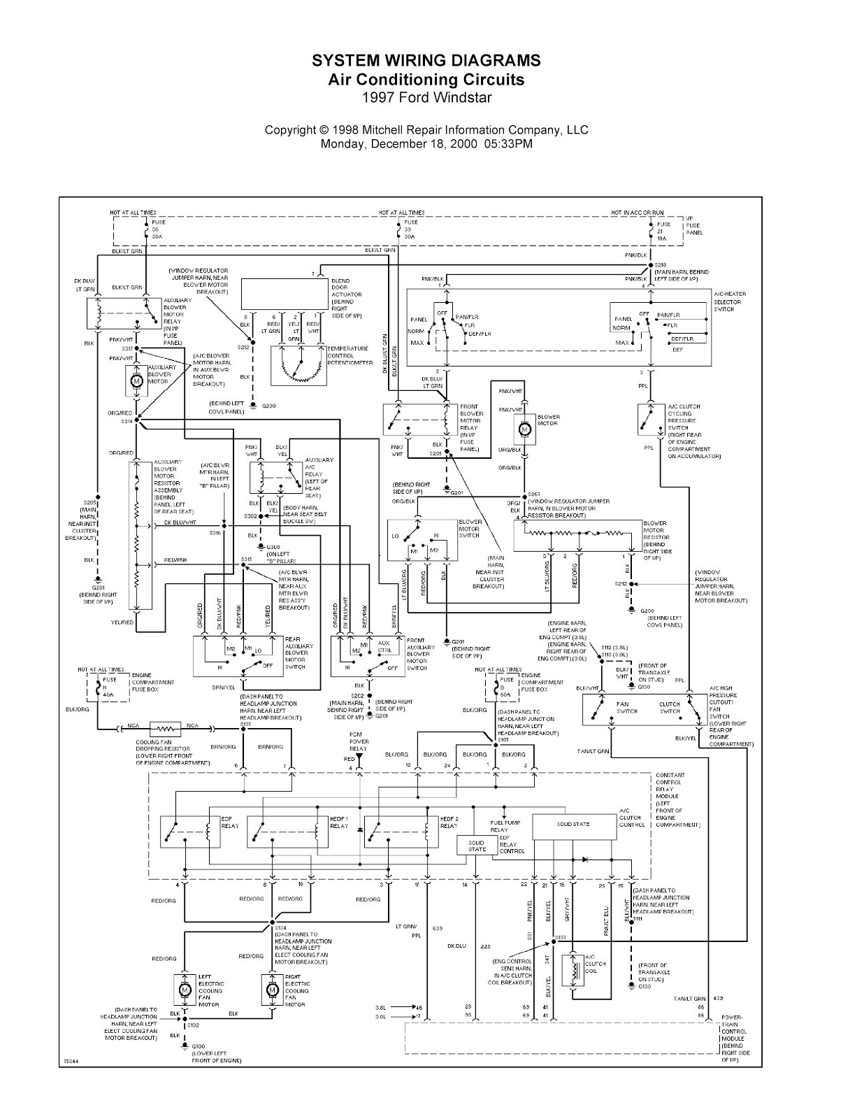 1997 Mercury Sable Engine Diagram Wiring Library 2001 Ford Windstar Plete System Diagrams Rh Wiringdiagramsolution