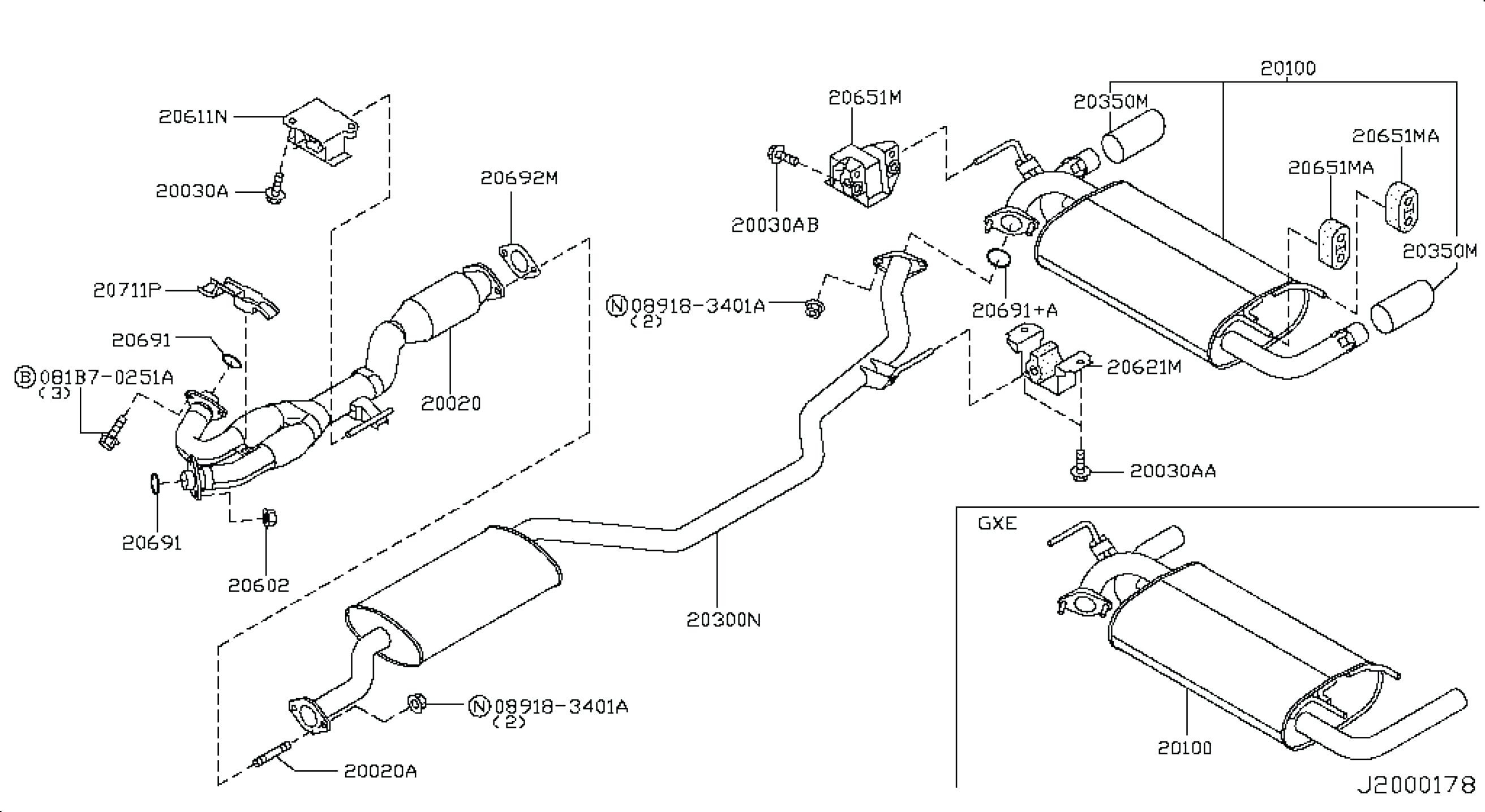 2001 Subaru Outback Exhaust System Diagram