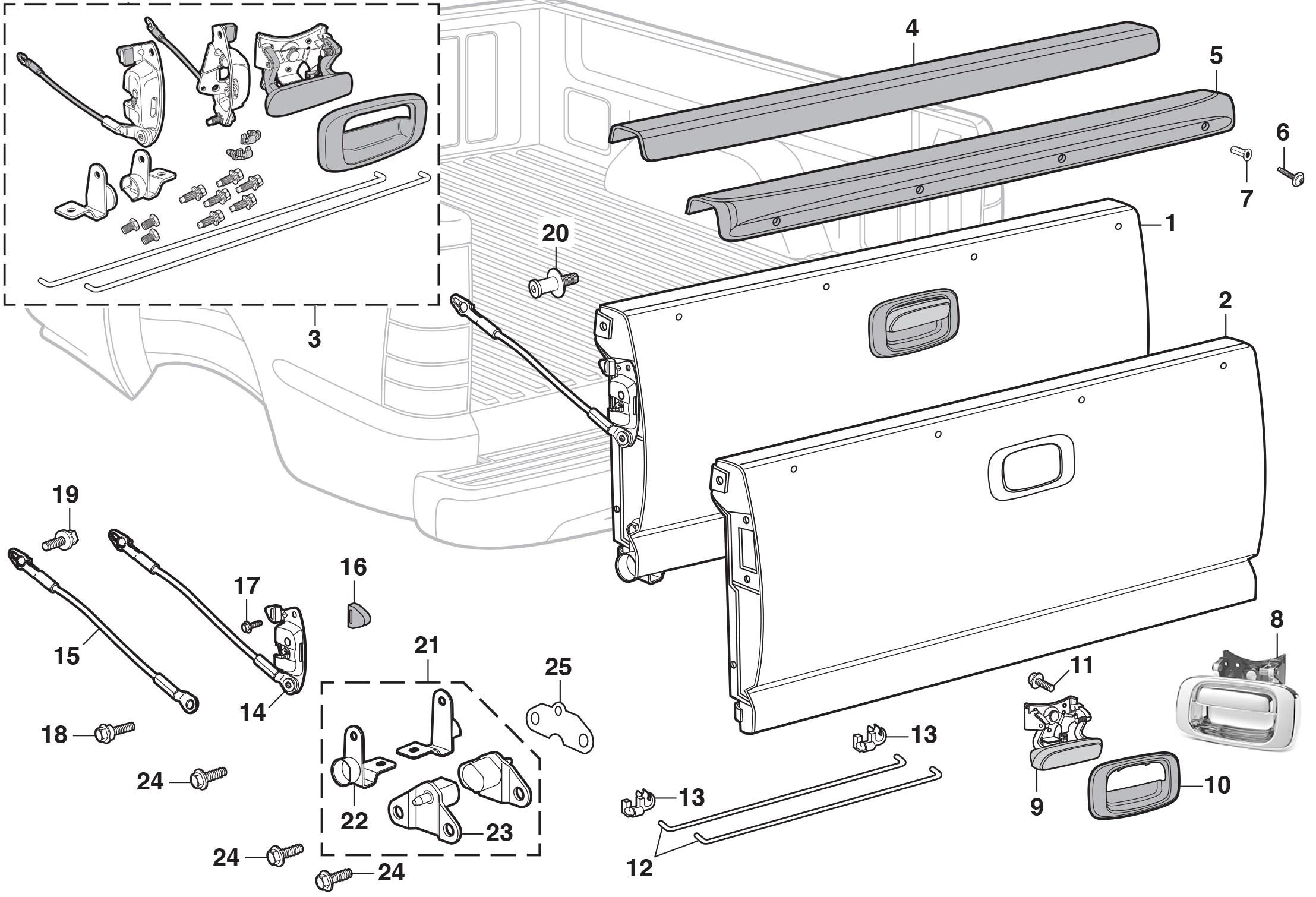 2005 Chevy Silverado Parts Diagram 2005 Chevy Silverado Parts Diagram Tailgate Ponents Of 2005 Chevy Silverado Parts Diagram
