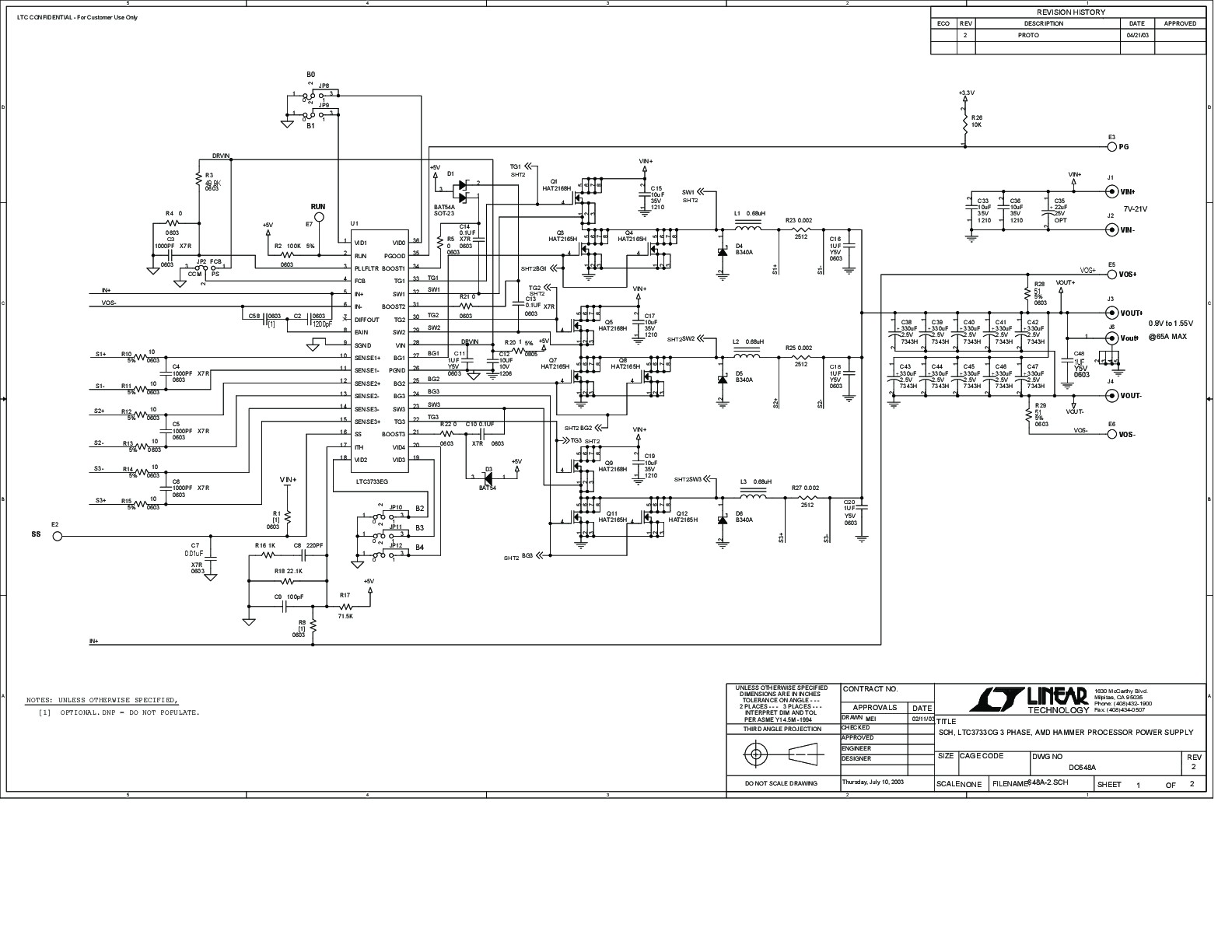 3 Phase Electrical Wiring Diagram Generator Single Black Max Solutions Dc648a Ltc3733cg Demo Board Amd Hammer Schematic Of