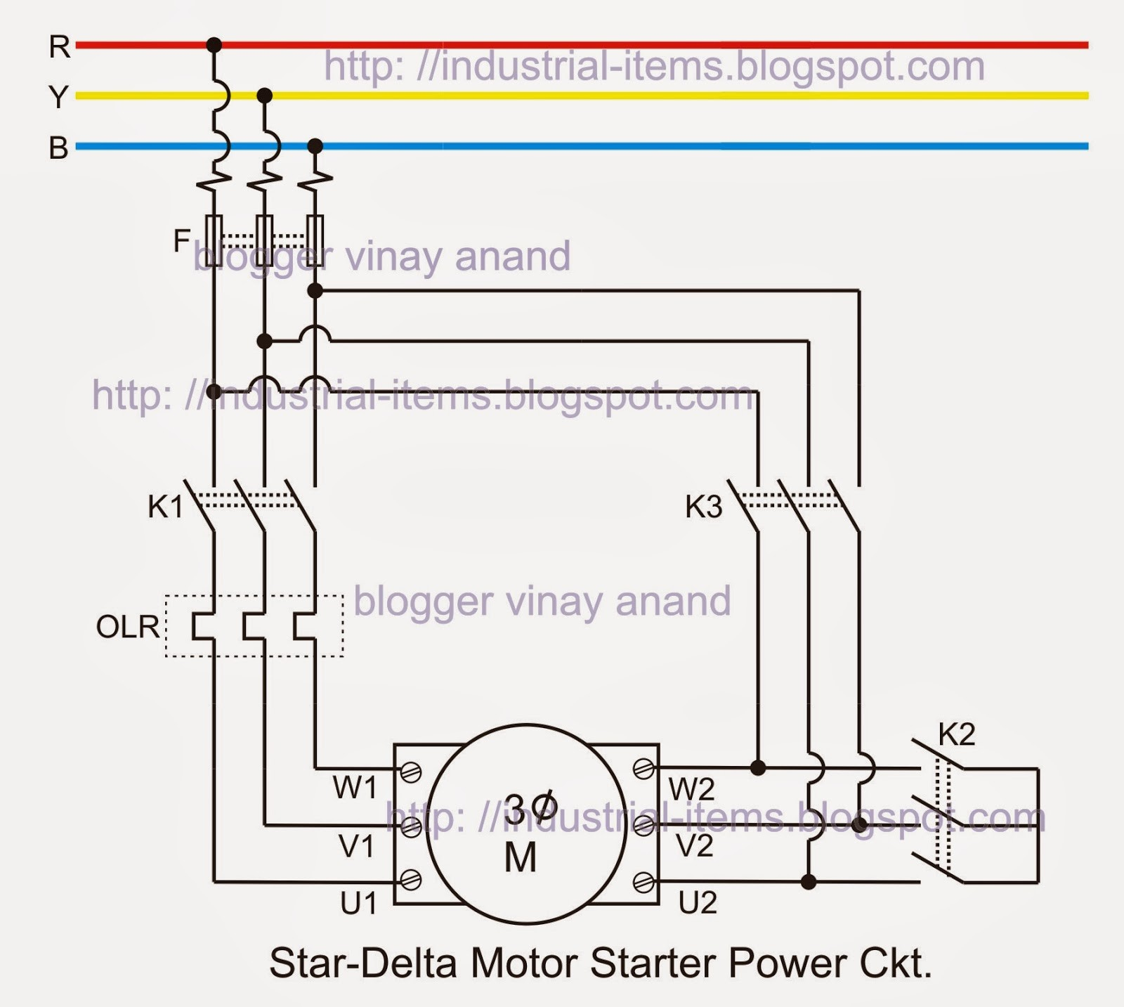 3 Phase Starter Wiring Diagram Tutorials Articles Star Delta Starter theory Power Circuit Phase Of 3 Phase Starter Wiring Diagram