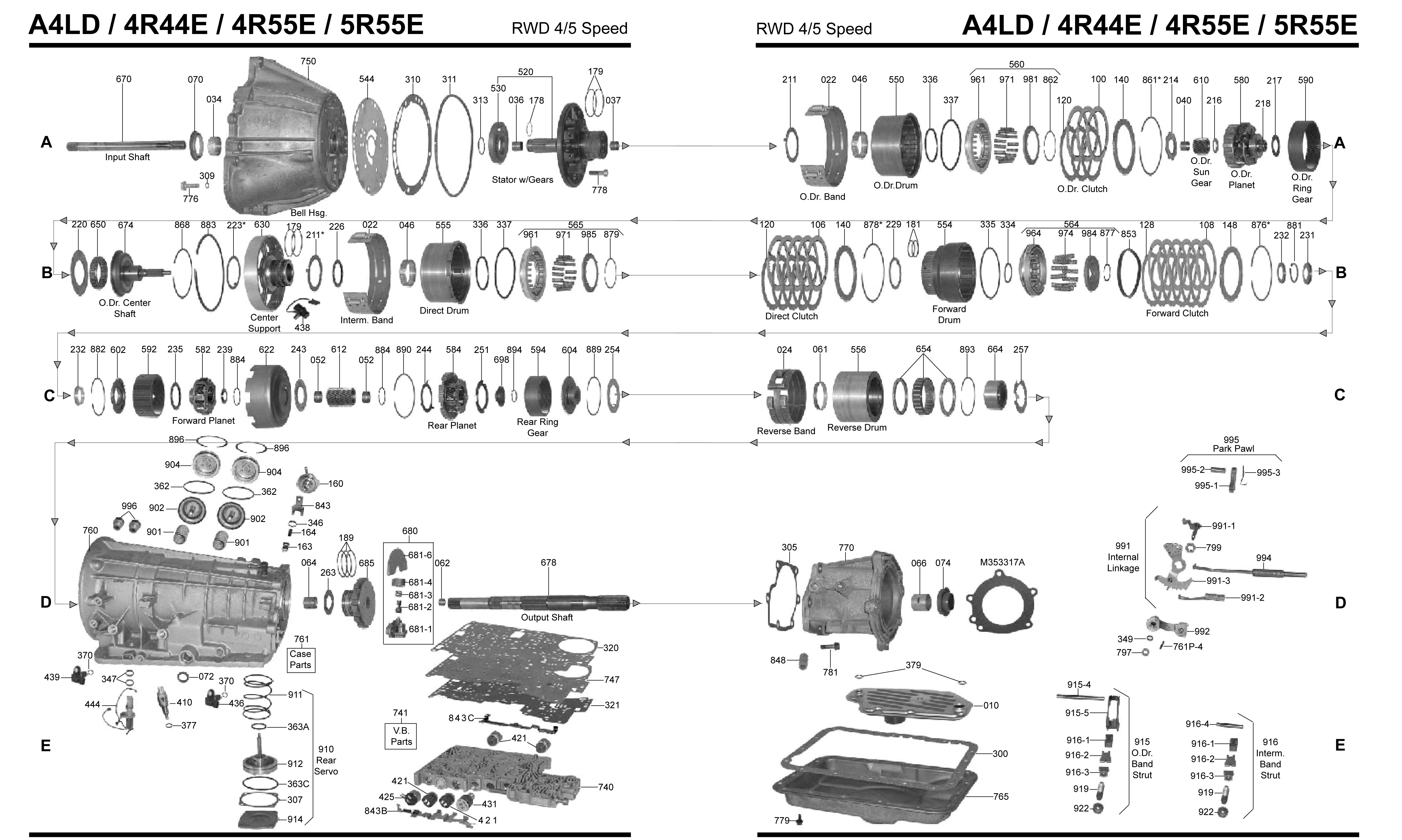 4l60e Transmission Parts Diagram Ford Aod Master 1990 Wiring 4l80e Of