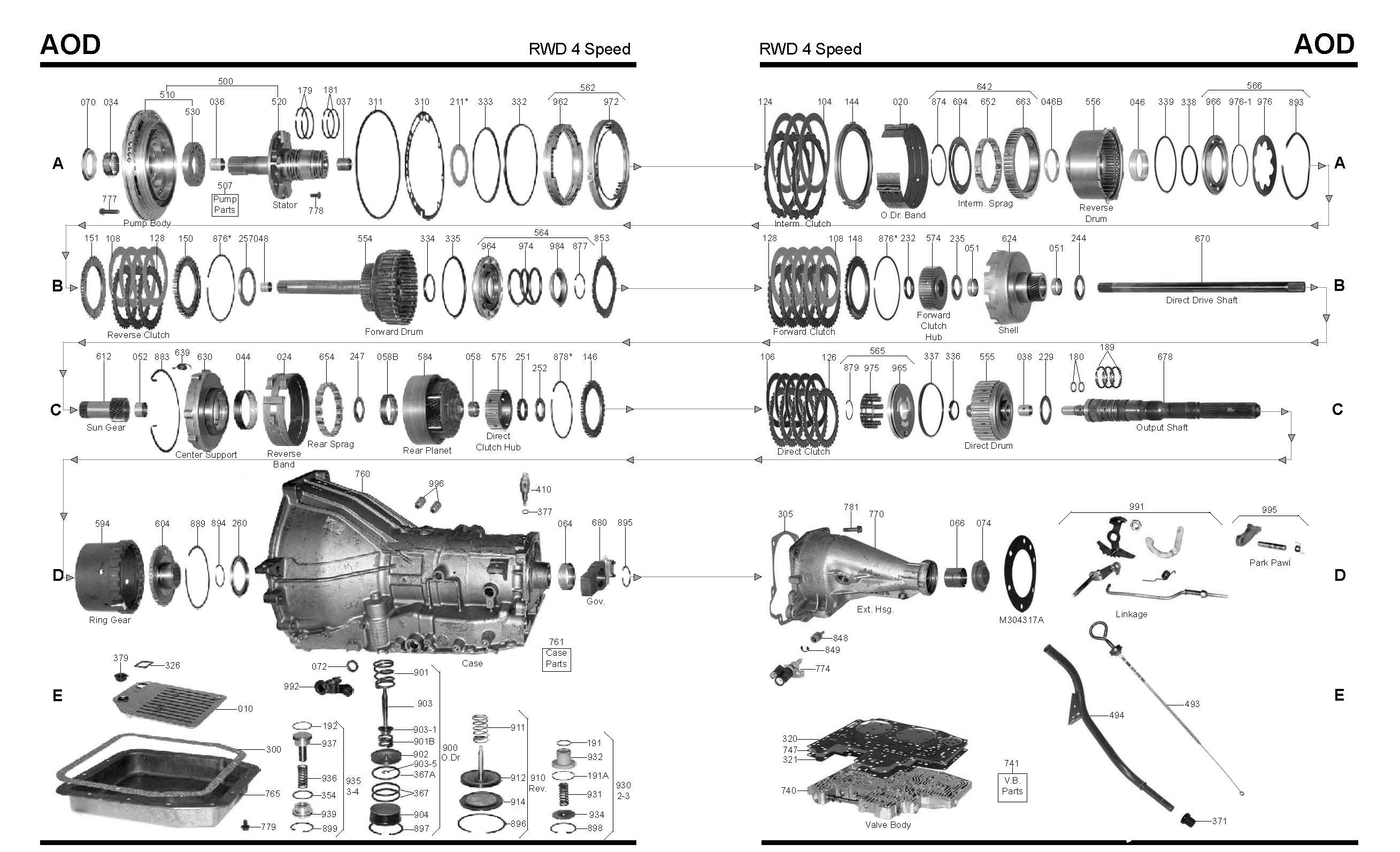 4l60e Transmission Parts Diagram ford Aod Transmission Master Rebuild Kit From Alto Stage 3 1980 1990 Of 4l60e Transmission Parts Diagram