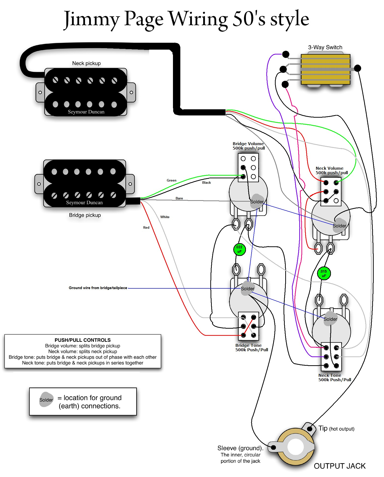 50s Les Paul Wiring Diagram Jimmy Page Wiring … Just Jimmy Pinterest Of 50s Les  Paul