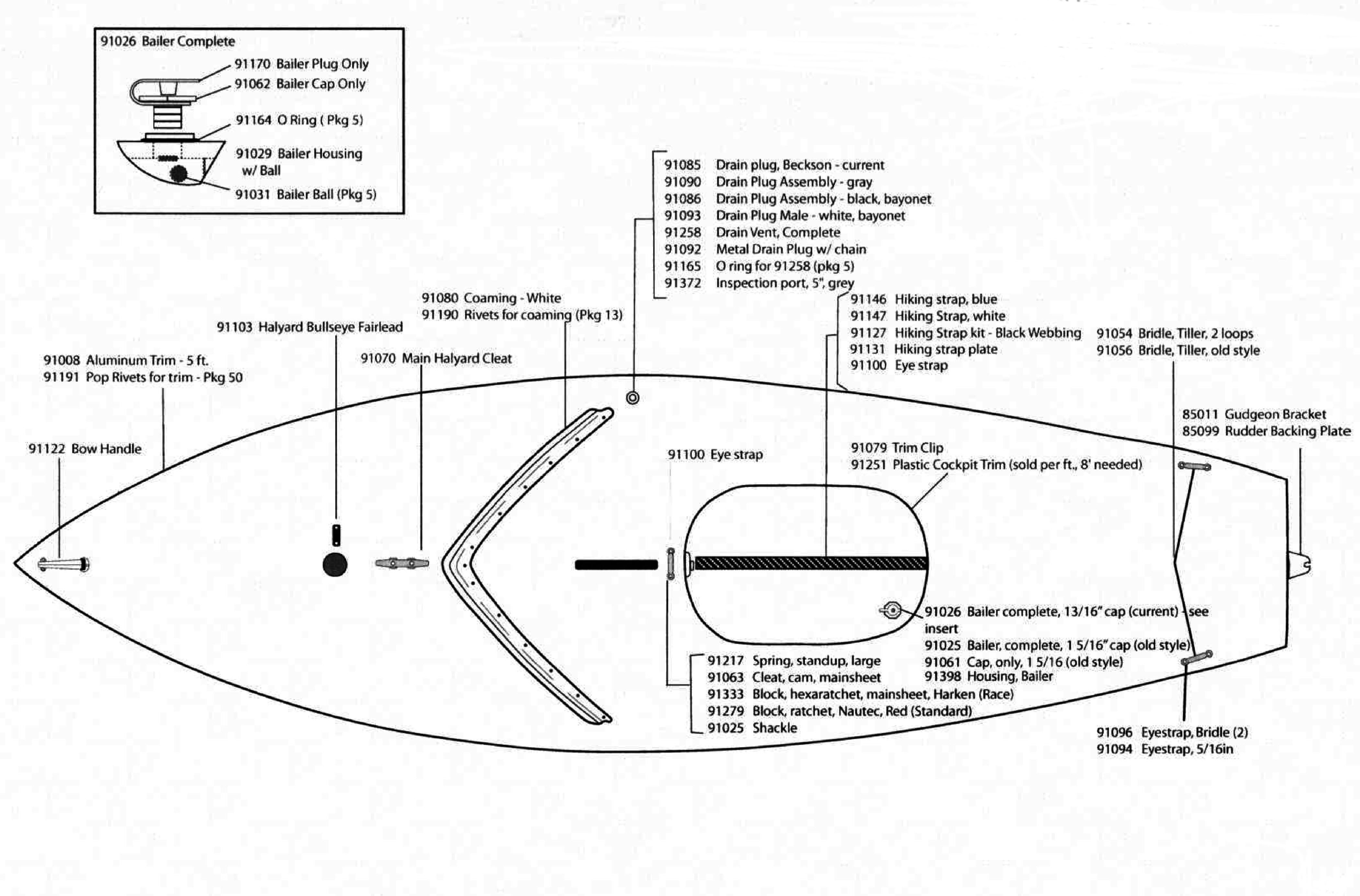 Aluminum Window Parts Diagram Sunfish Sailboat Hull & Deck Parts Of Aluminum Window Parts Diagram