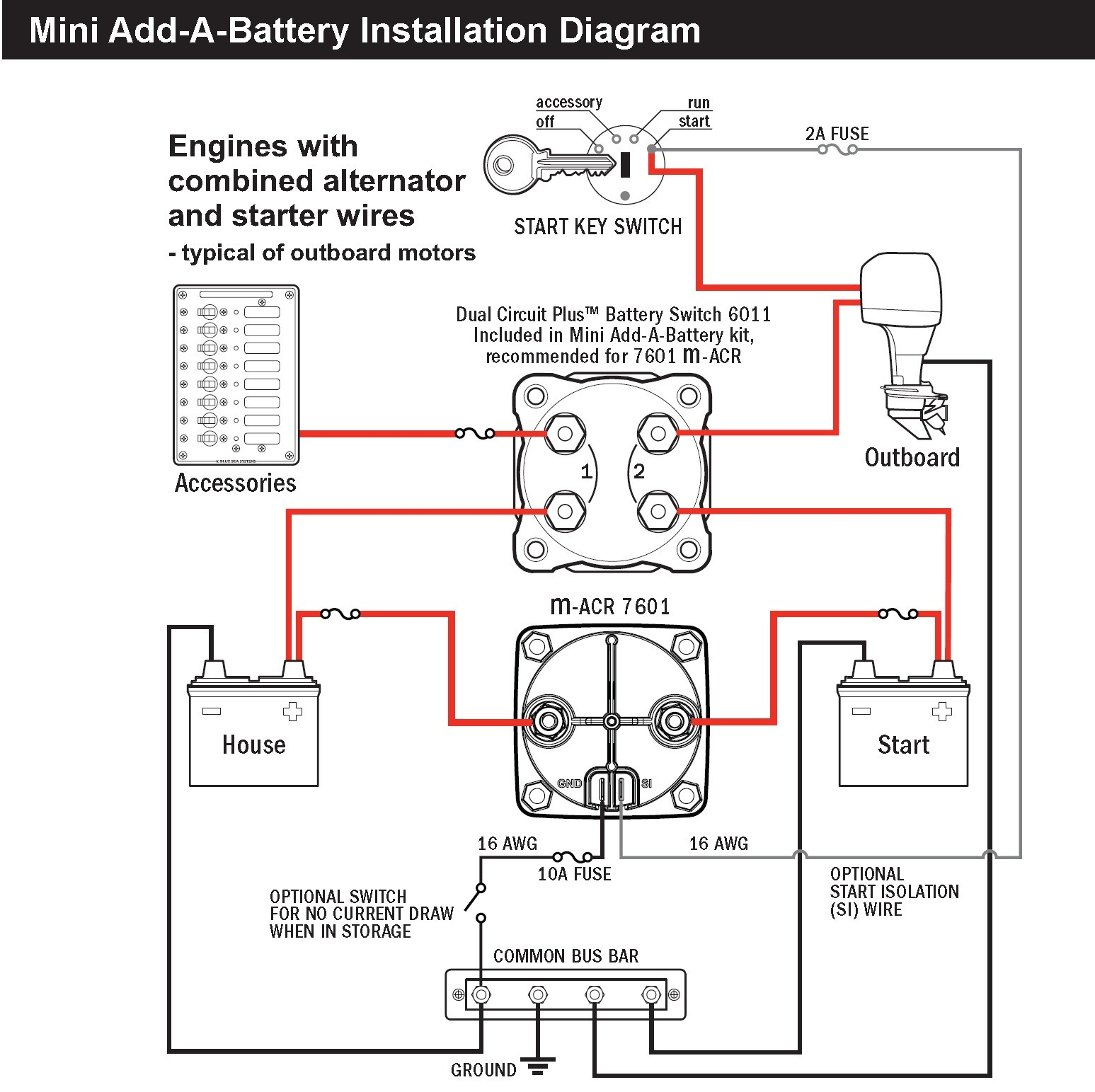 Boat Dual Battery Wiring Diagram Blue Sea 7601 Marine Vsr Acr Automatic Charge Relay 65 A 12v 24v Dc