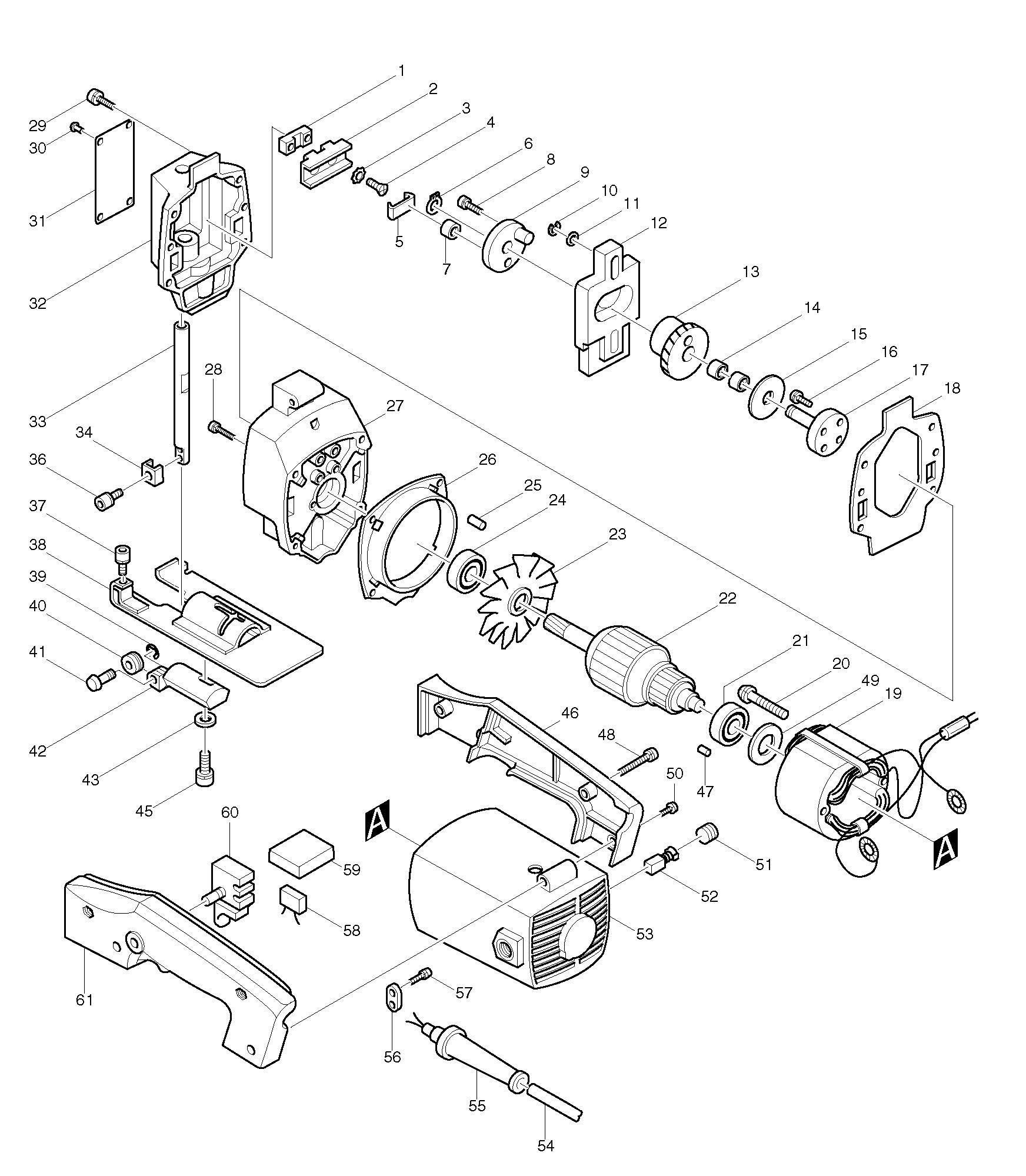 bosch jigsaw parts diagram spares for makita 4300bv jigsaw