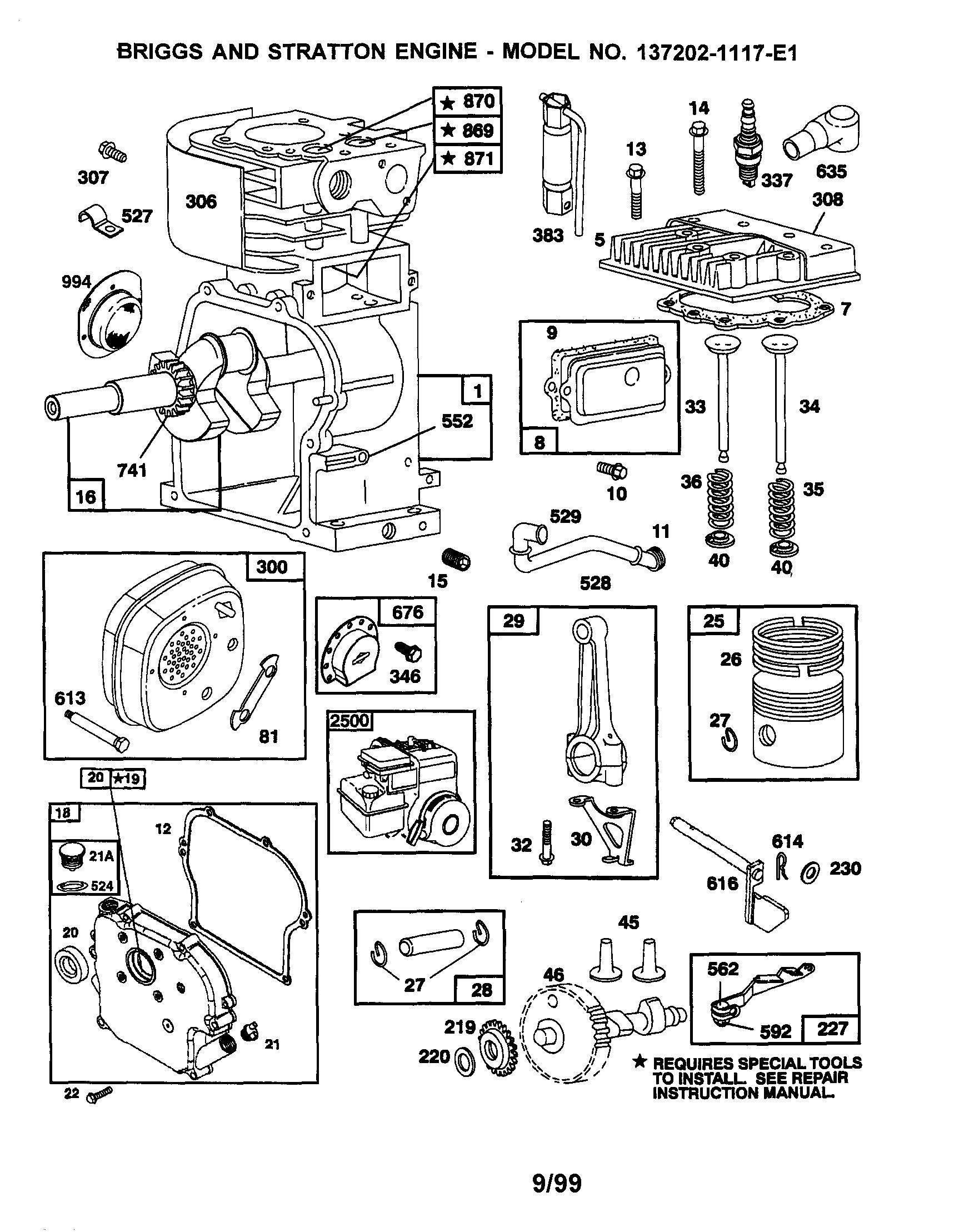 Briggs and Stratton 550ex Parts Diagram Briggs Stratton Model 1117 E1 Engine Genuine Parts Of Briggs and Stratton 550ex Parts Diagram