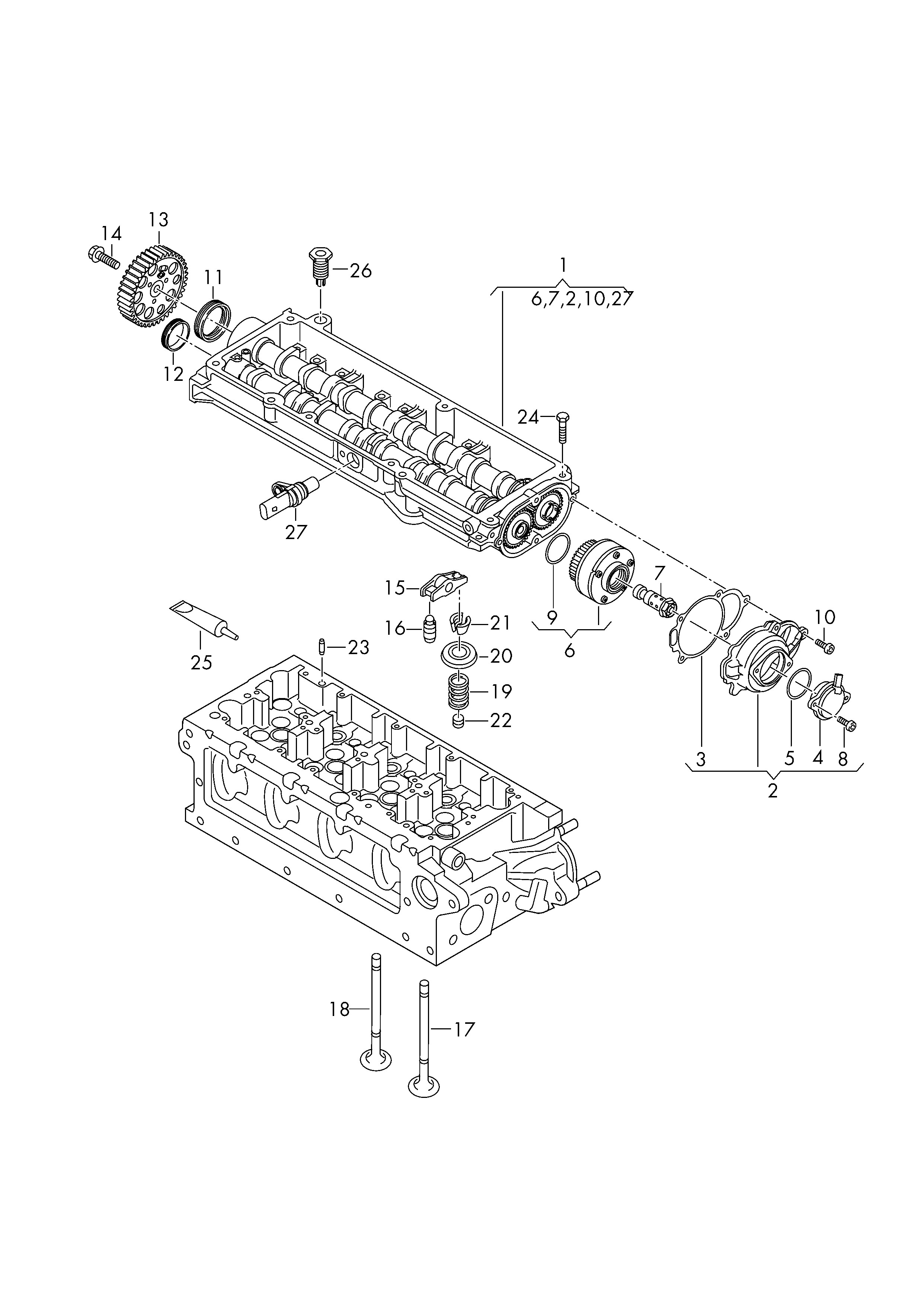 Camshaft Parts Diagram Volkswagen Passat Variant 2015 2017 Camshaft Adjuster Unit Of Camshaft Parts Diagram