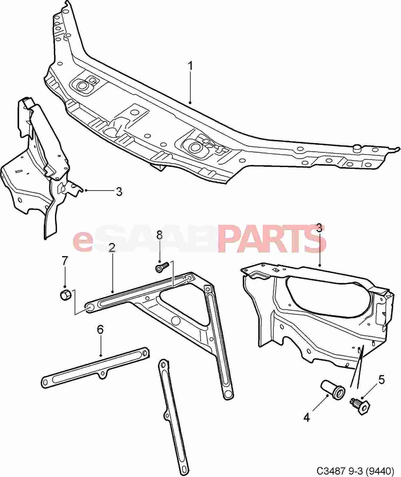 Car Body Panel Diagram Car Exterior Body Parts Diagram Awesome Esaabparts Saab 9 3 9440 Car Of Car Body Panel Diagram