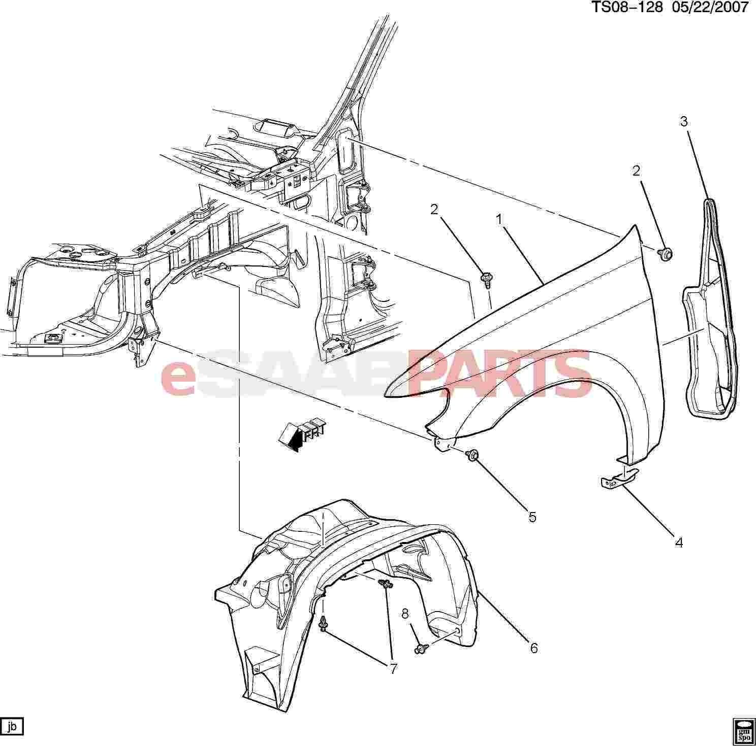 Car Body Panel Diagram Esaabparts Saab 9 7x Car Body External Parts Fender Of Car Body Panel Diagram