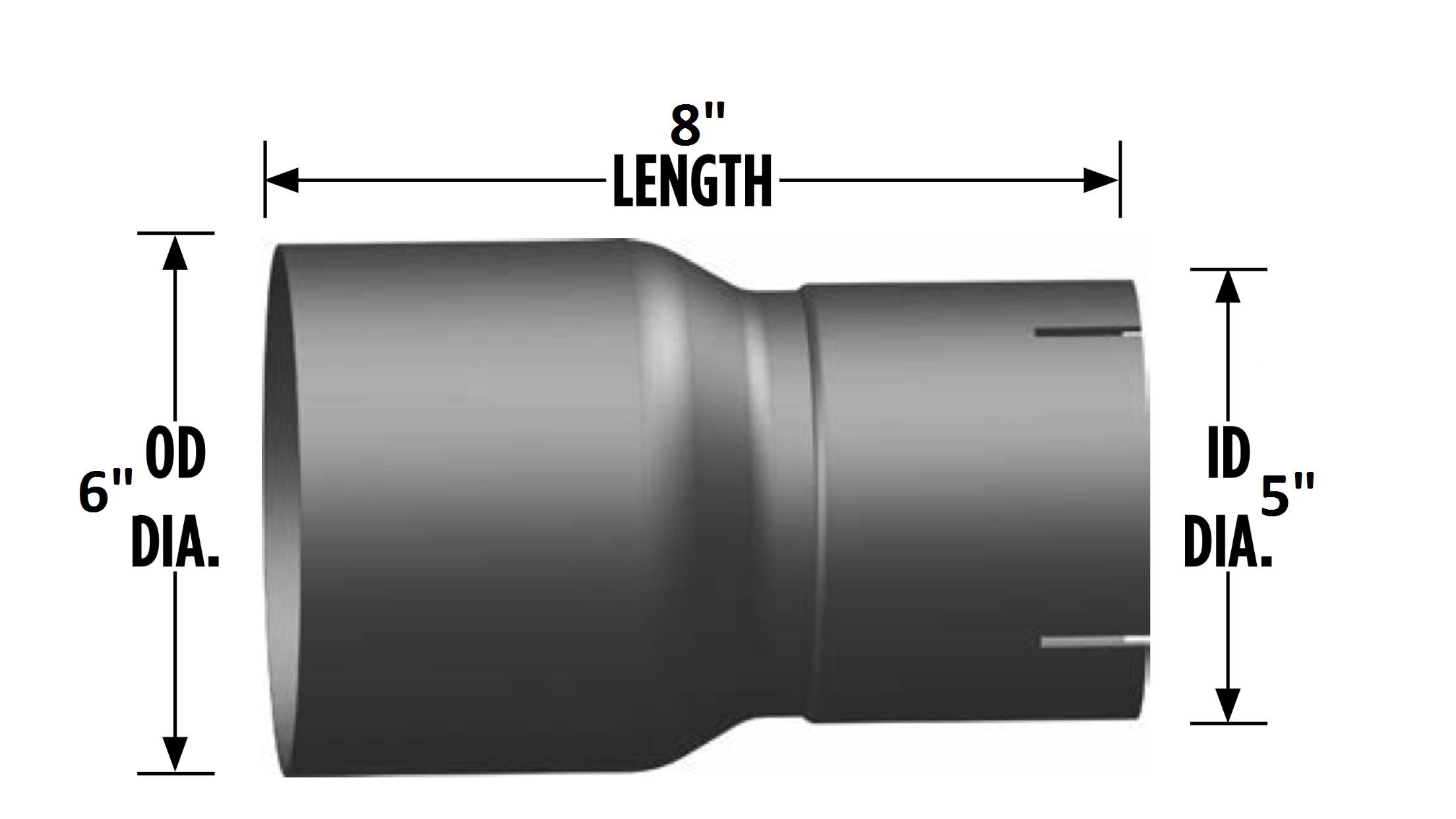 Car Exhaust System Diagram 6″ 5″ O D I D Reducer Exhaust Pipe Coupler 8″ Length Of Car Exhaust System Diagram
