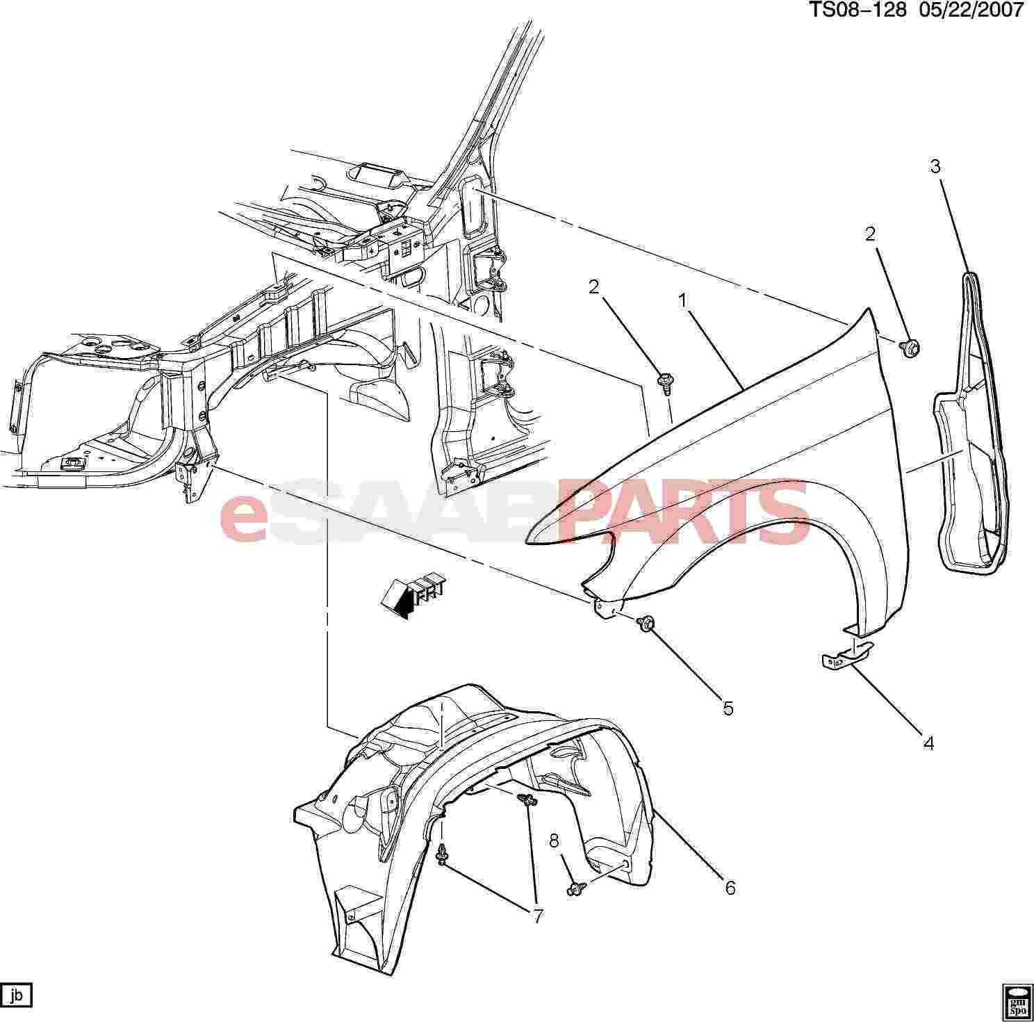 Car Front End Diagram Esaabparts Saab 9 7x Car Body External Parts Fender Of Car Front End Diagram