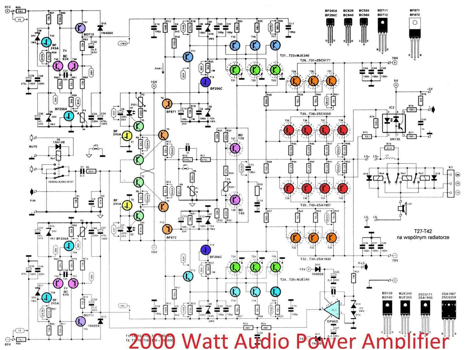 Car Power Amplifier Circuit Diagram 2000w High Power Amplifier 2sc5359 2sa1987