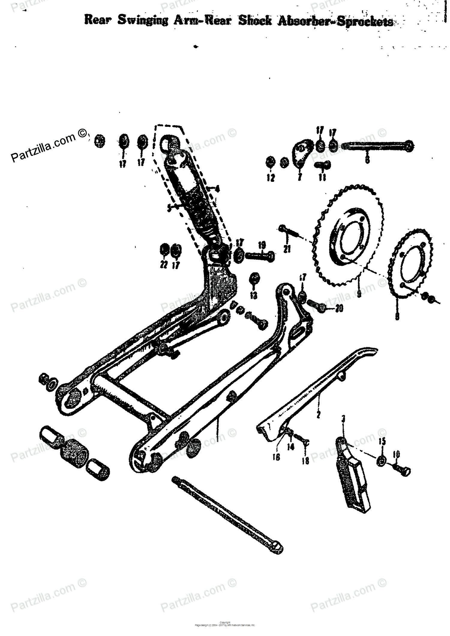 Car Shock Absorber Diagram Suzuki Motorcycle 1968 Oem Parts Diagram for Rear Swinging Arm Rear Of Car Shock Absorber Diagram
