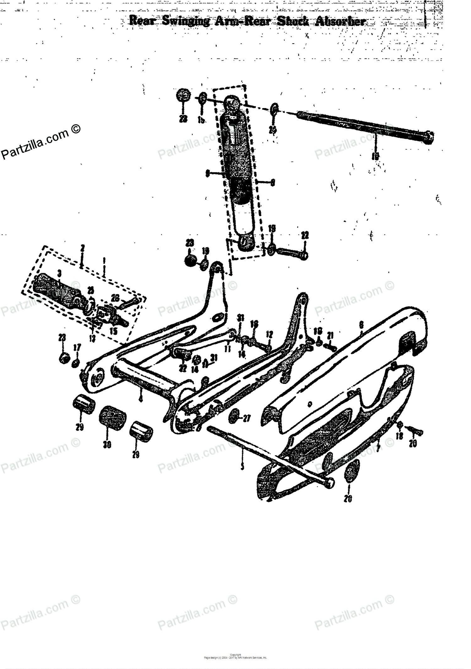 Car Shock Absorber Diagram Suzuki Motorcycle 1968 Oem Parts Diagram for Rear Swinging Arm Rear Of Car Shock Absorber Diagram