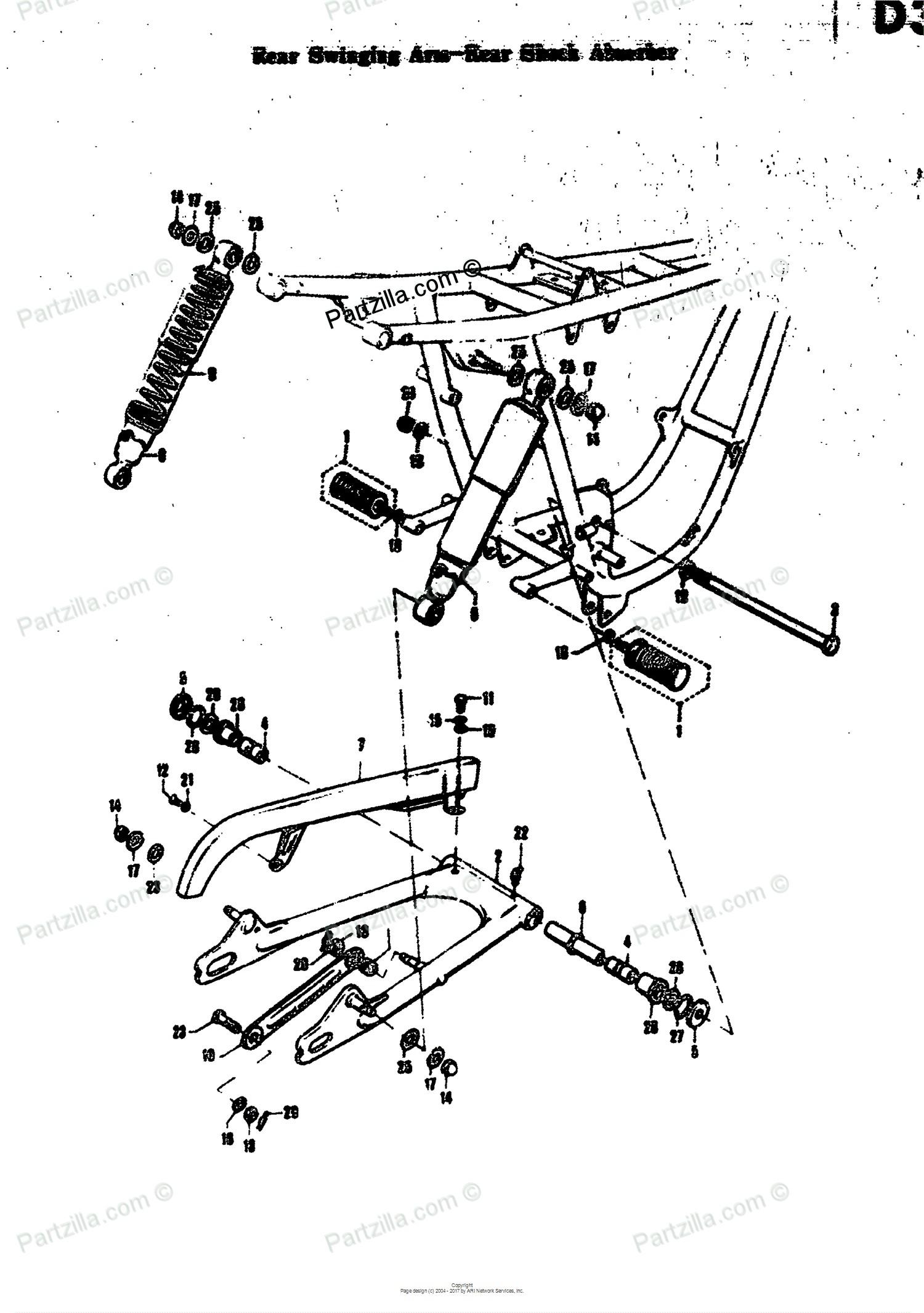 Car Shock Absorber Diagram Suzuki Motorcycle 1969 Oem Parts Diagram for Rear Swinging Arm Rear Of Car Shock Absorber Diagram