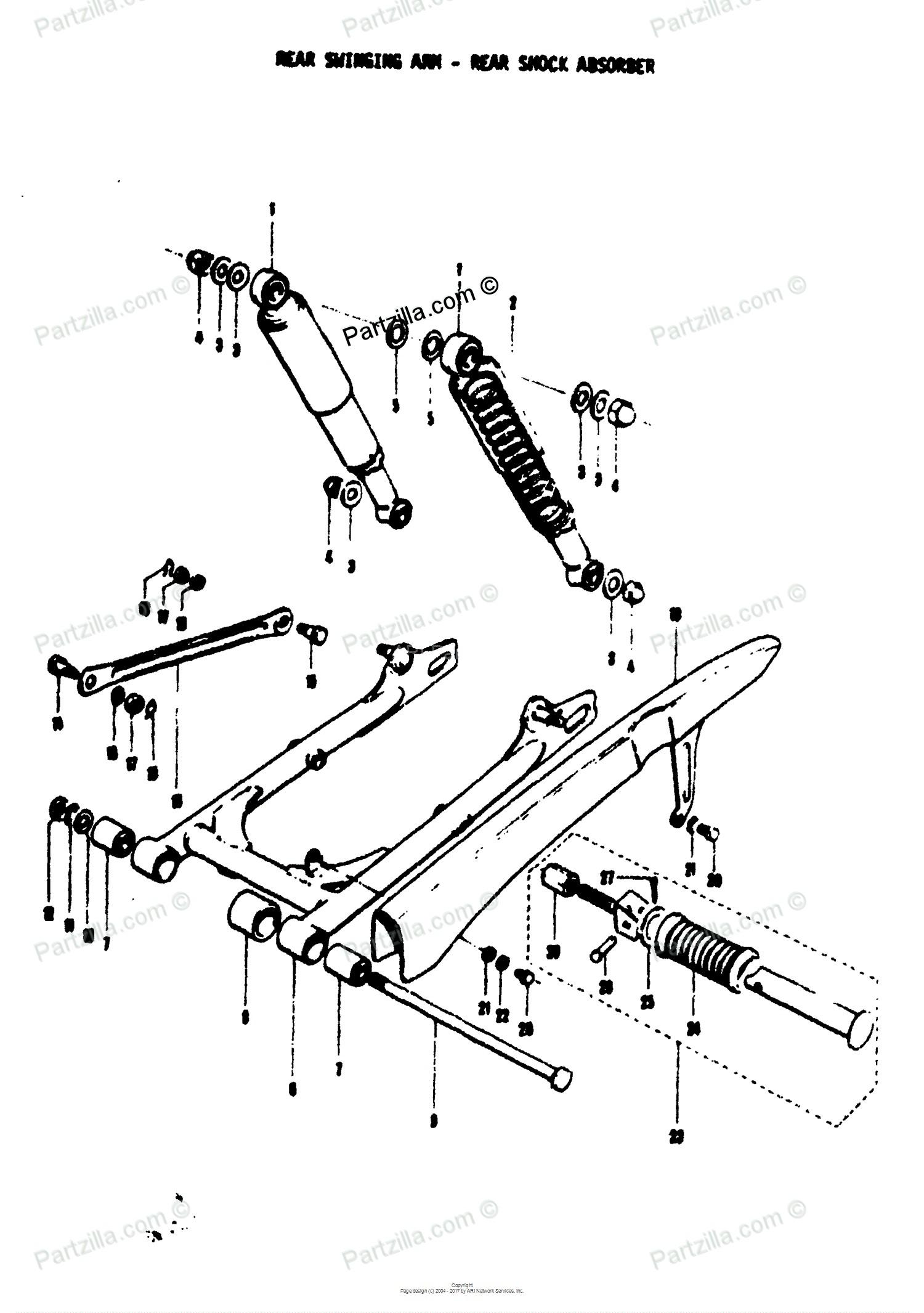 Car Shock Absorber Diagram Suzuki Motorcycle 1971 Oem Parts Diagram for Rear Swinging Arm Rear Of Car Shock Absorber Diagram