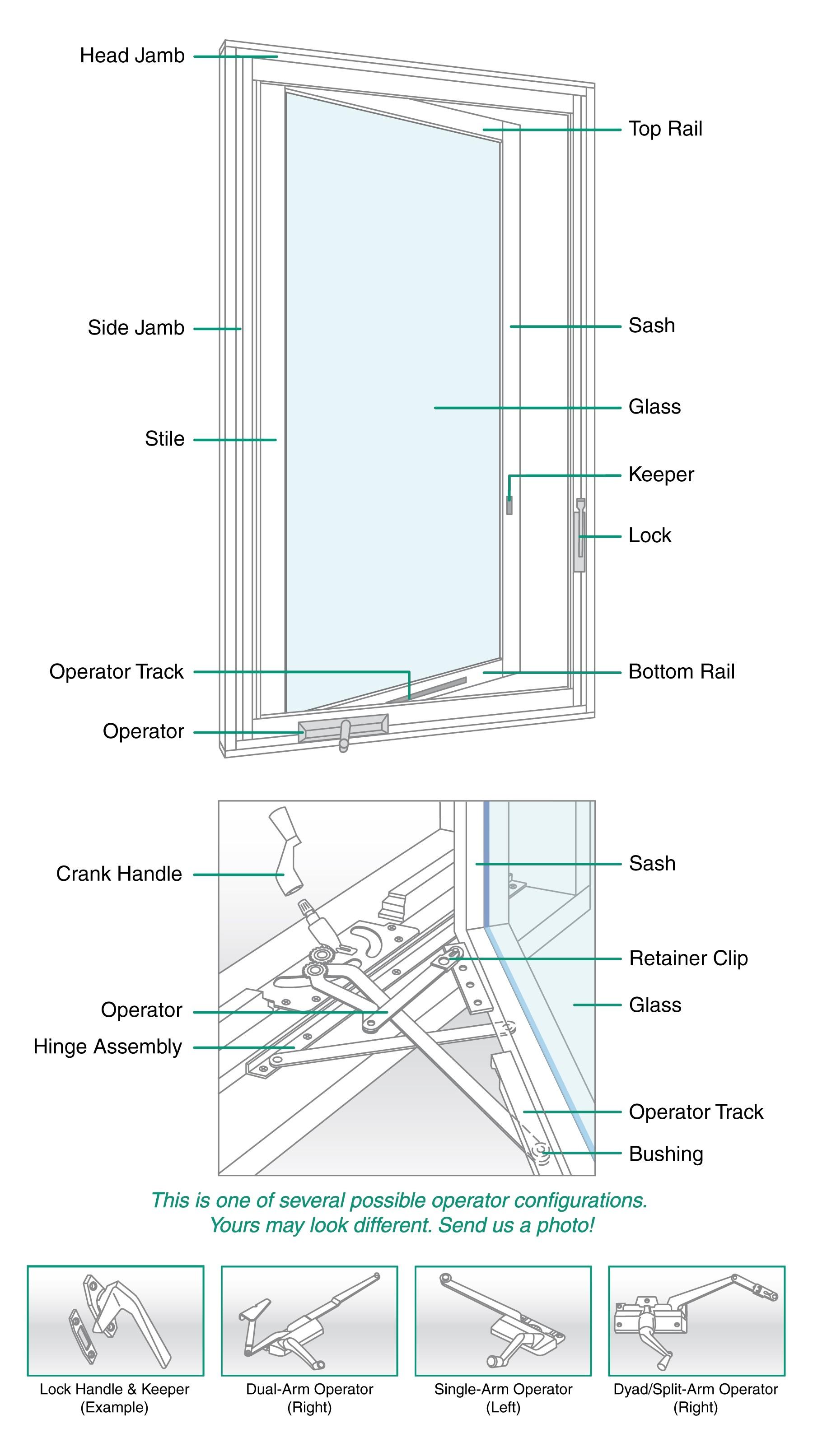 Casement Window Parts Diagram Rivco Double Hung and Casement Window Diagrams Of Casement Window Parts Diagram