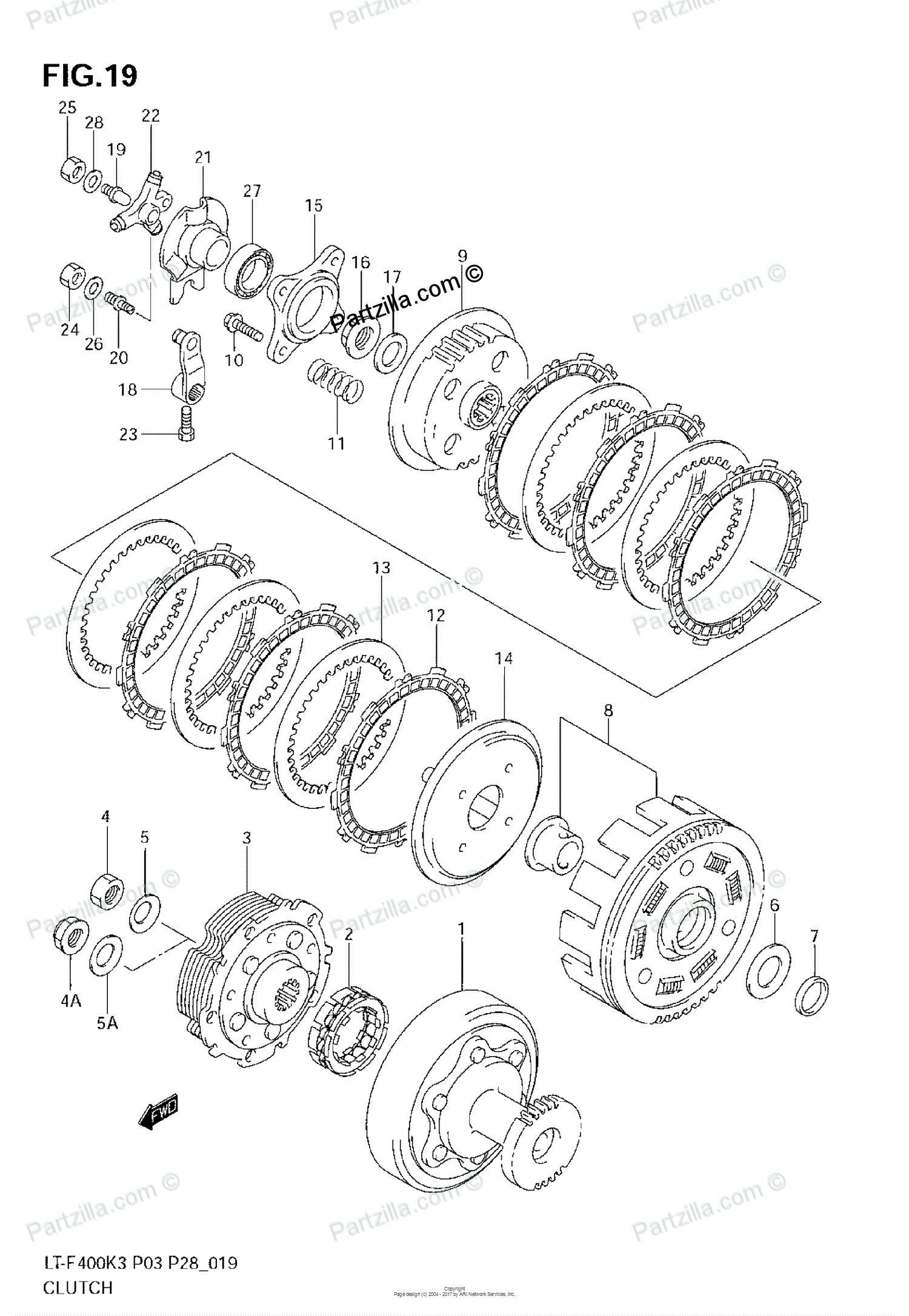 Clutch Parts Diagram 1964 Lincoln Continental Wiring Suzuki Atv 2004 Oem For Model K3 Partzilla Of