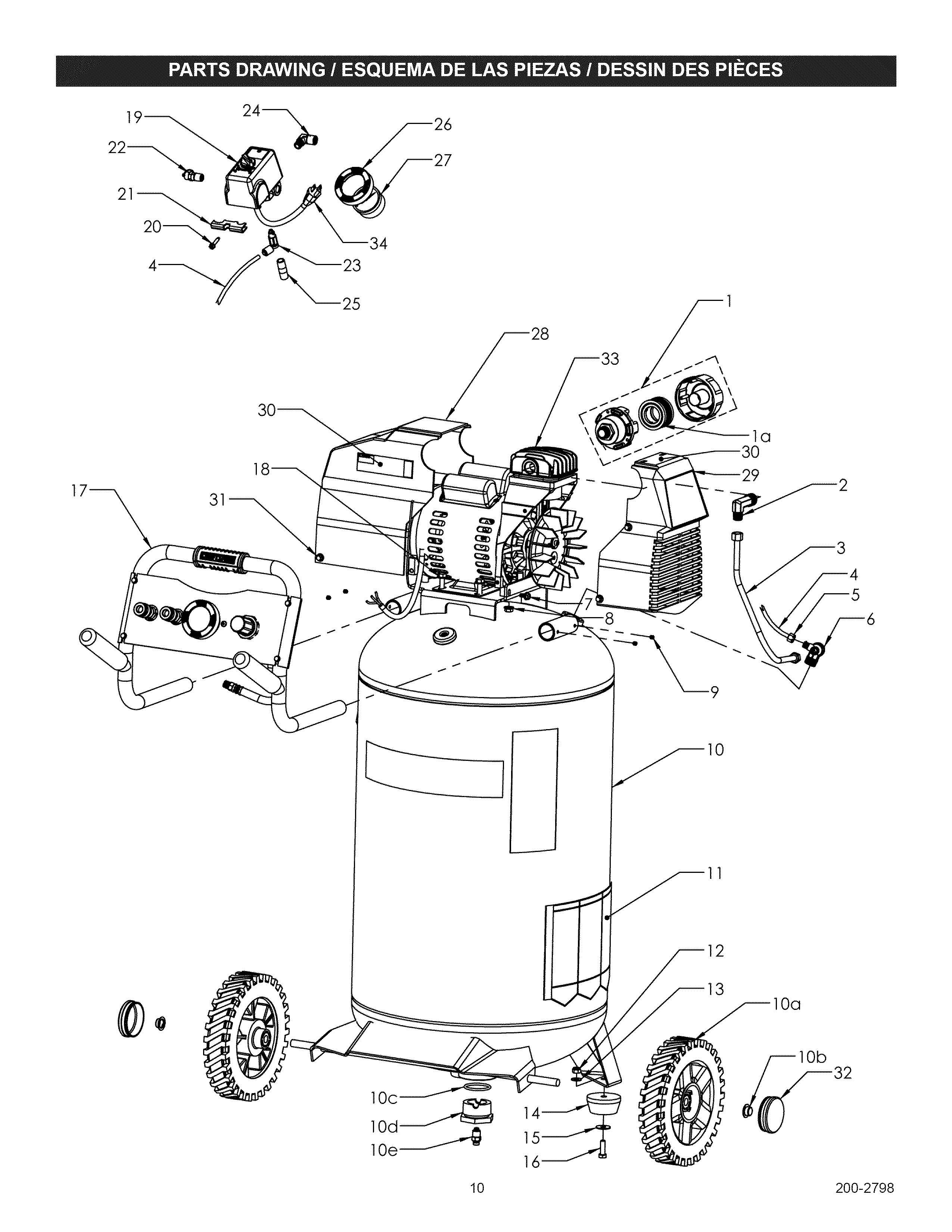 craftsman air compressor parts diagram