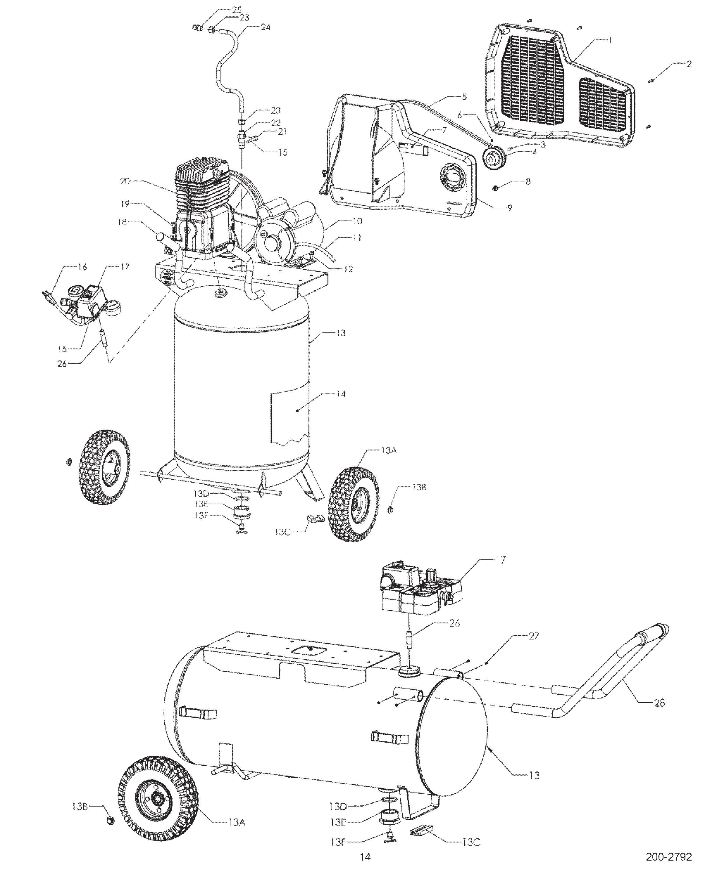 Craftsman Air Compressor Parts Diagram Sears Craftsman 921 Wpb Air Pressor Parts Of Craftsman Air Compressor Parts Diagram