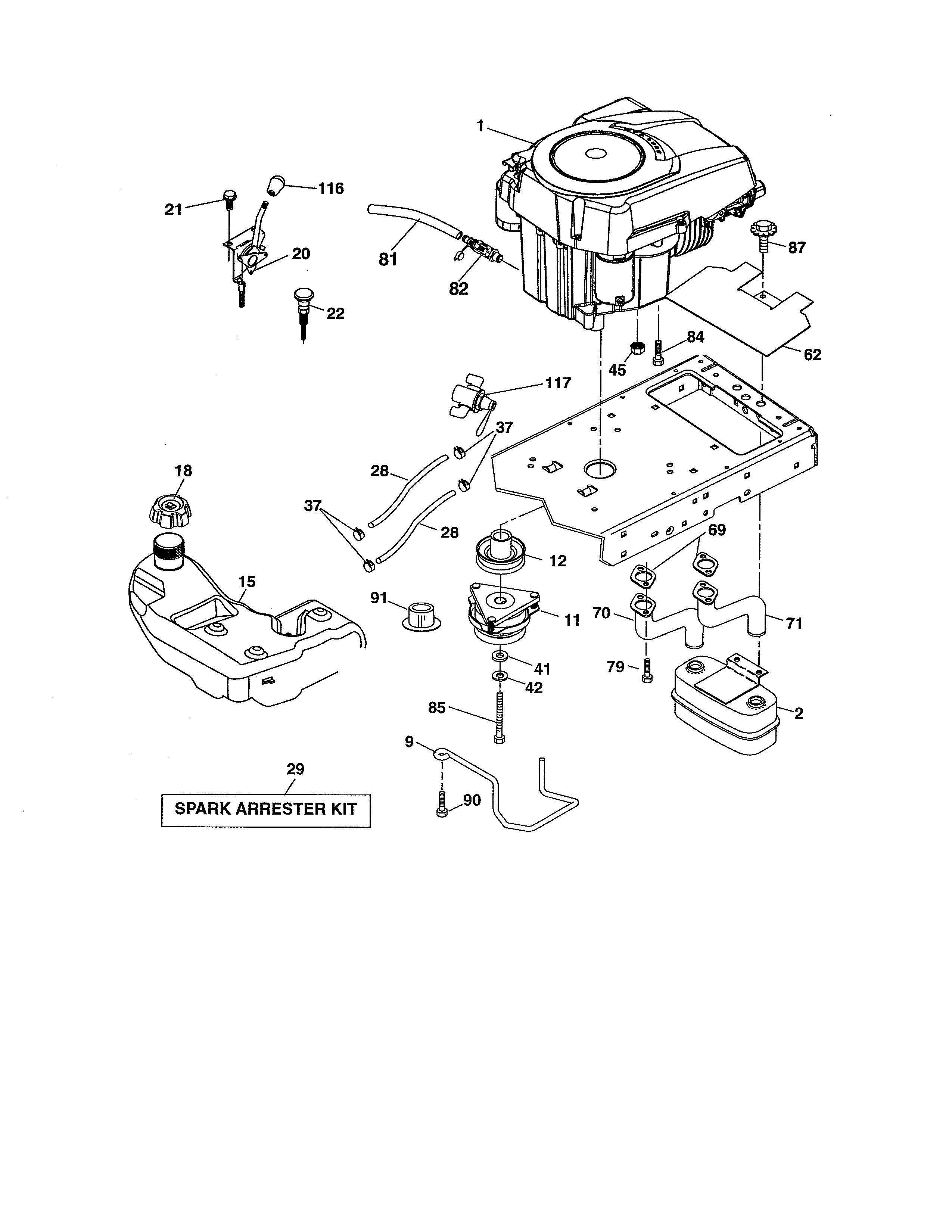 Craftsman Riding Mower Engine Diagram Craftsman Model Lawn Tractor Genuine Parts Of Craftsman Riding Mower Engine Diagram