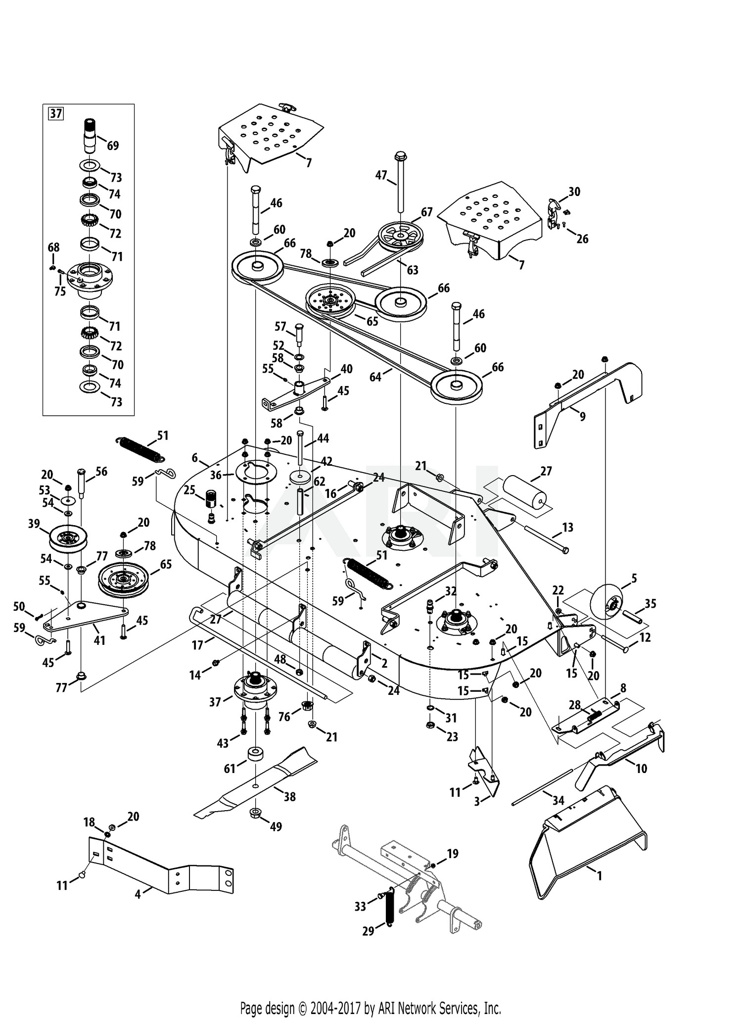 cub cadet mower deck parts diagram