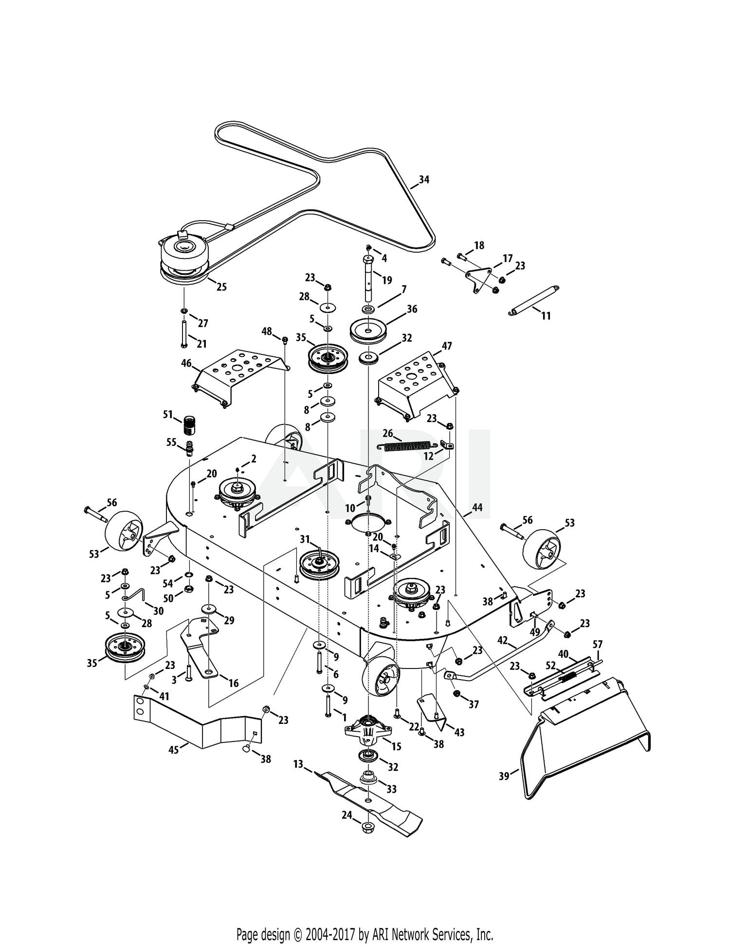 Cub Cadet Mower Deck Parts Diagram Diagrams Wiring For Tank Z Force S 48