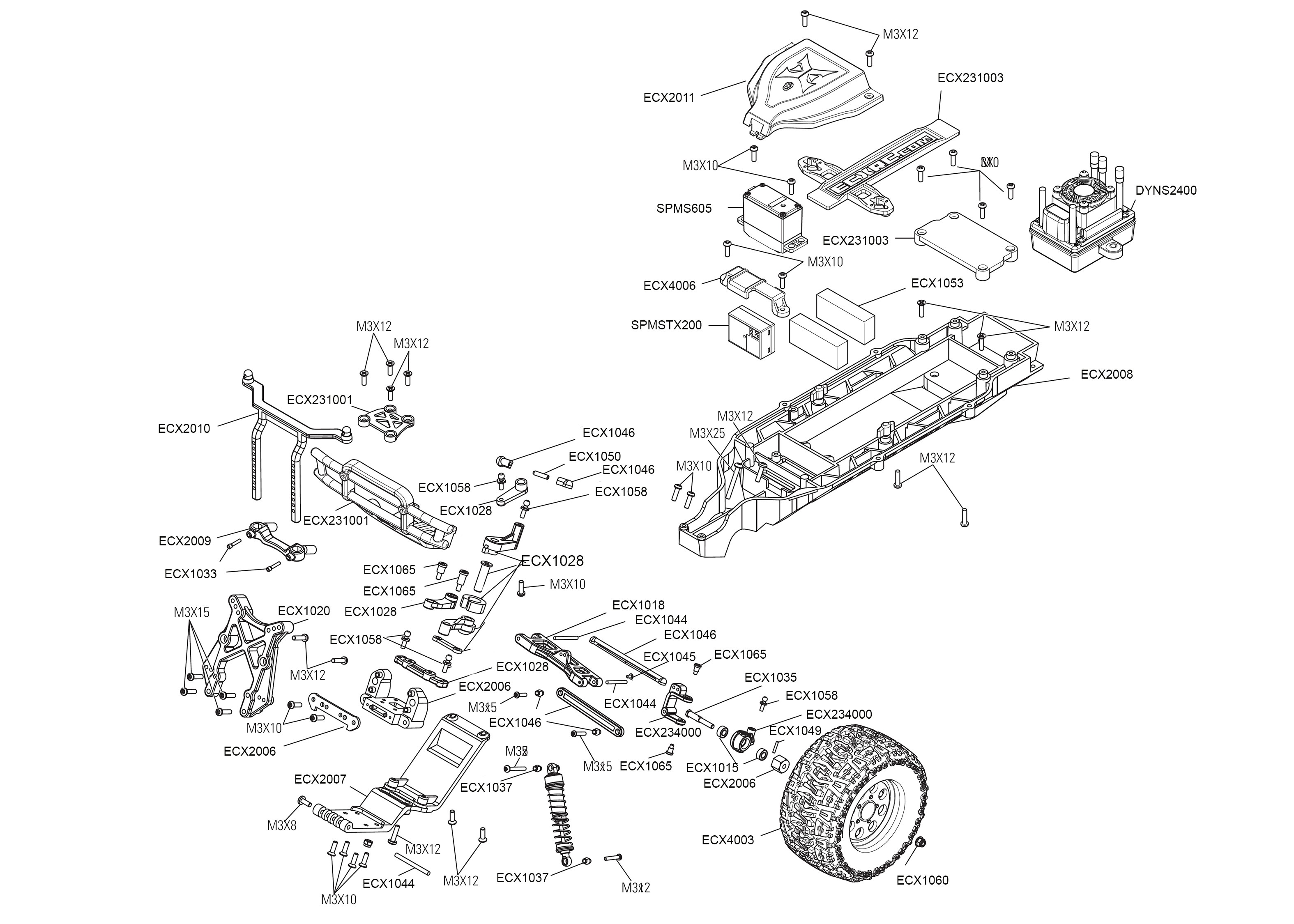 diagram of car part exploded view ecx ruckus mt 1 10 2wd
