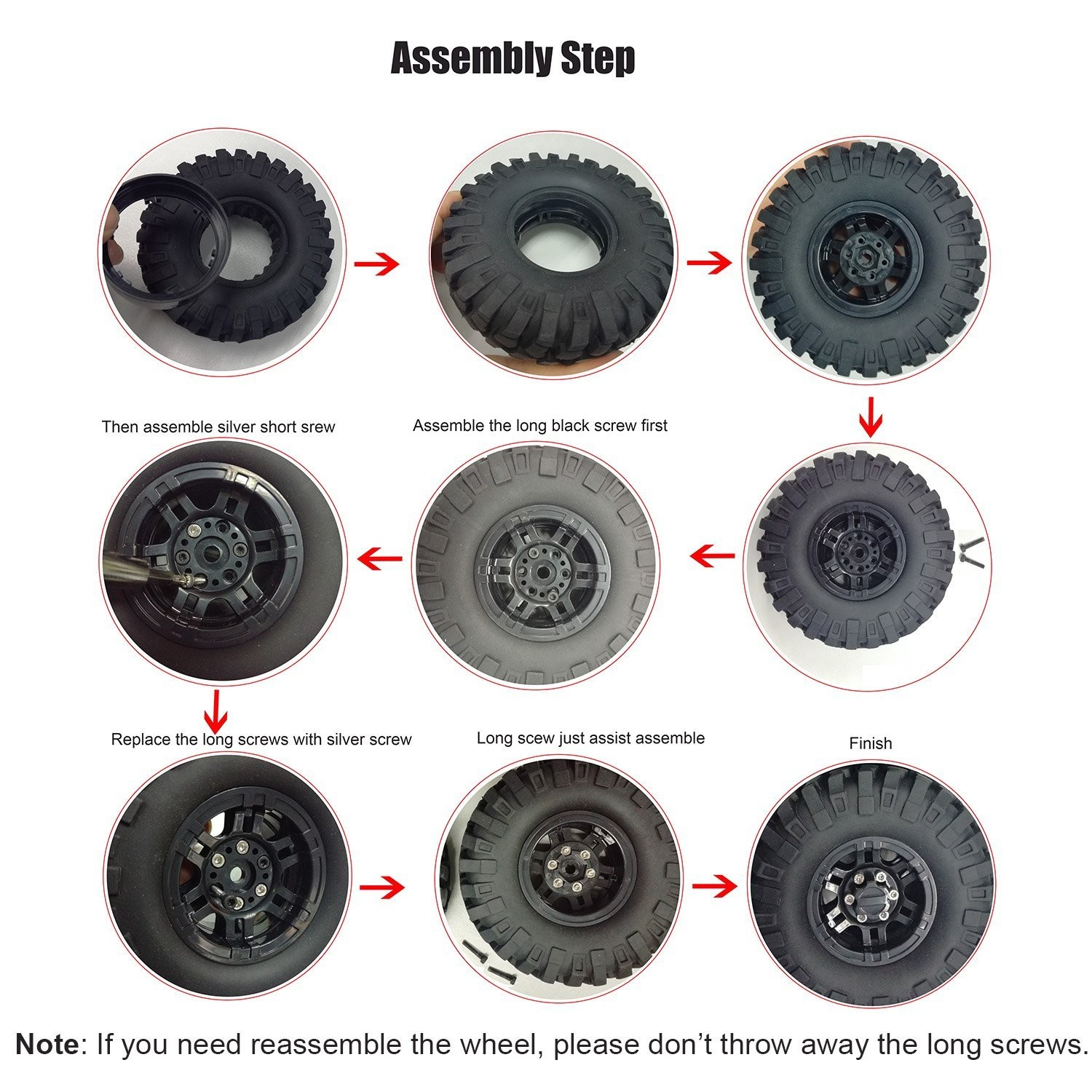 "Diagram Of Car Tire Amazon Lafeina 4pcs 108mm Rubber Tire and 1 9"" Beadlock Wheel Of Diagram Of Car Tire"