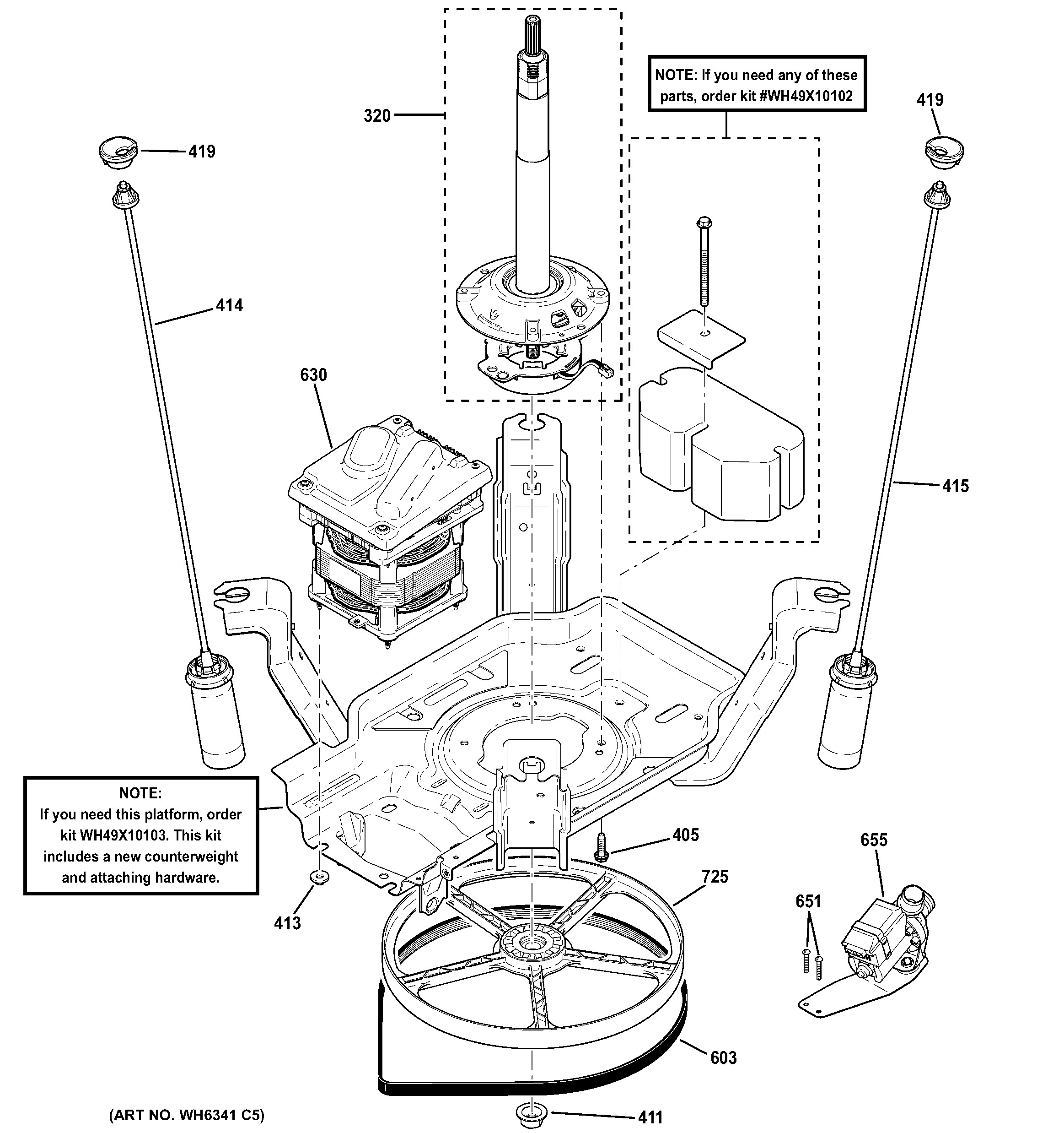 Diagram Of Front Suspension Ge Model Gtwn4250m1ws Residential Washers Genuine Parts
