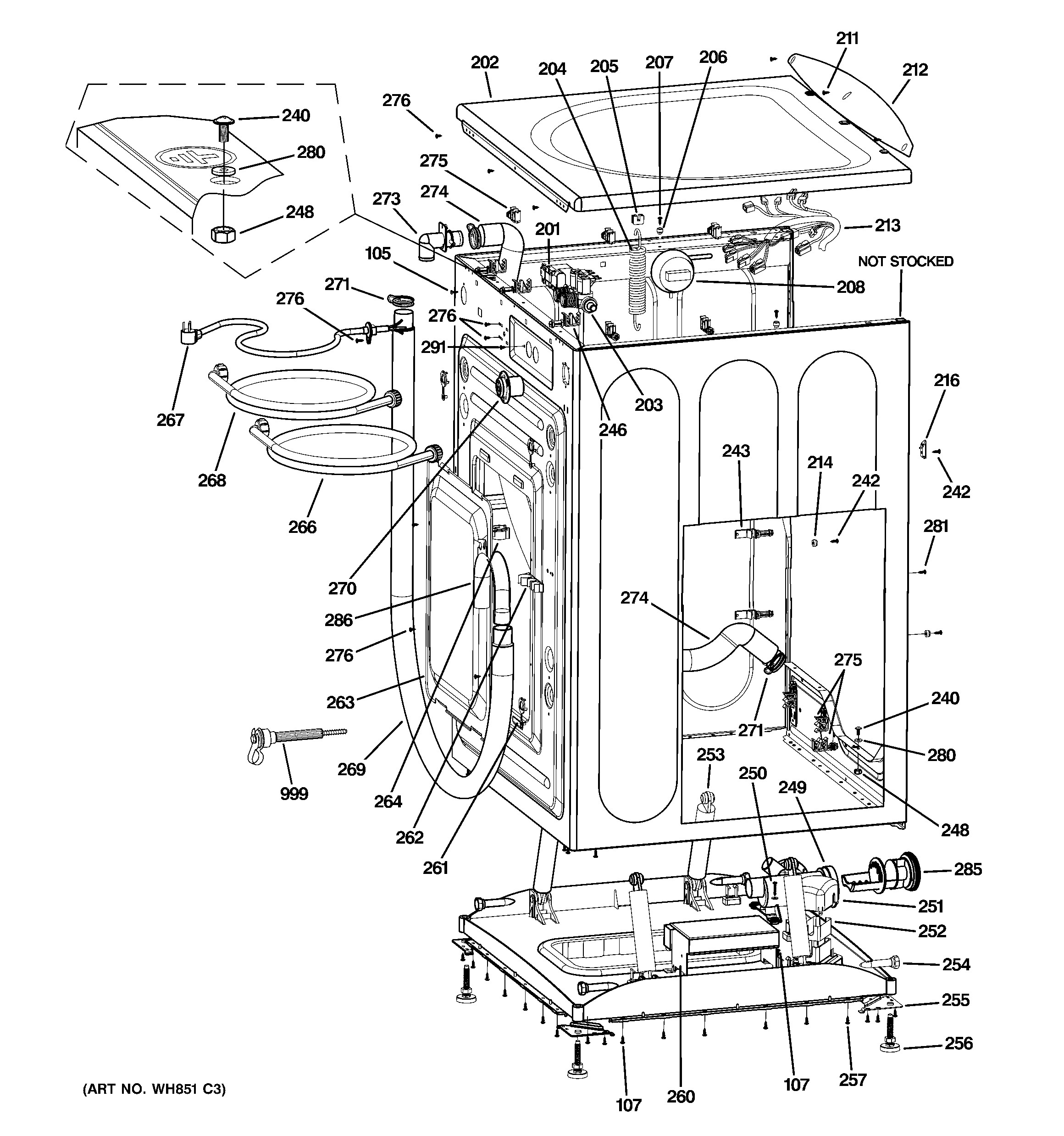 Diagram Of Front Suspension Ge Model Wbvh5100h1ww Residential Washers Genuine Parts Of Diagram Of Front Suspension