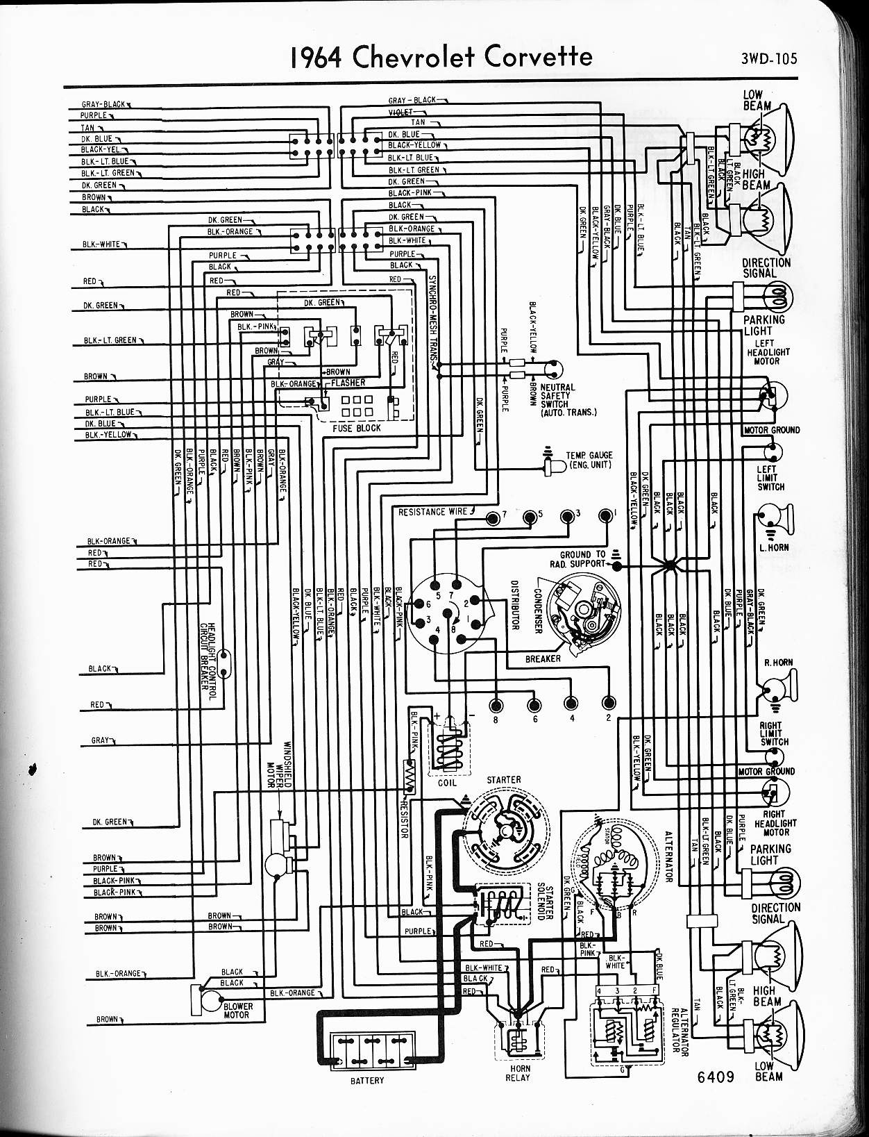 Chevy Sel Engine Wiring Diagram Library Diesel Starter 1972 Corvette Wiper 1959 Of