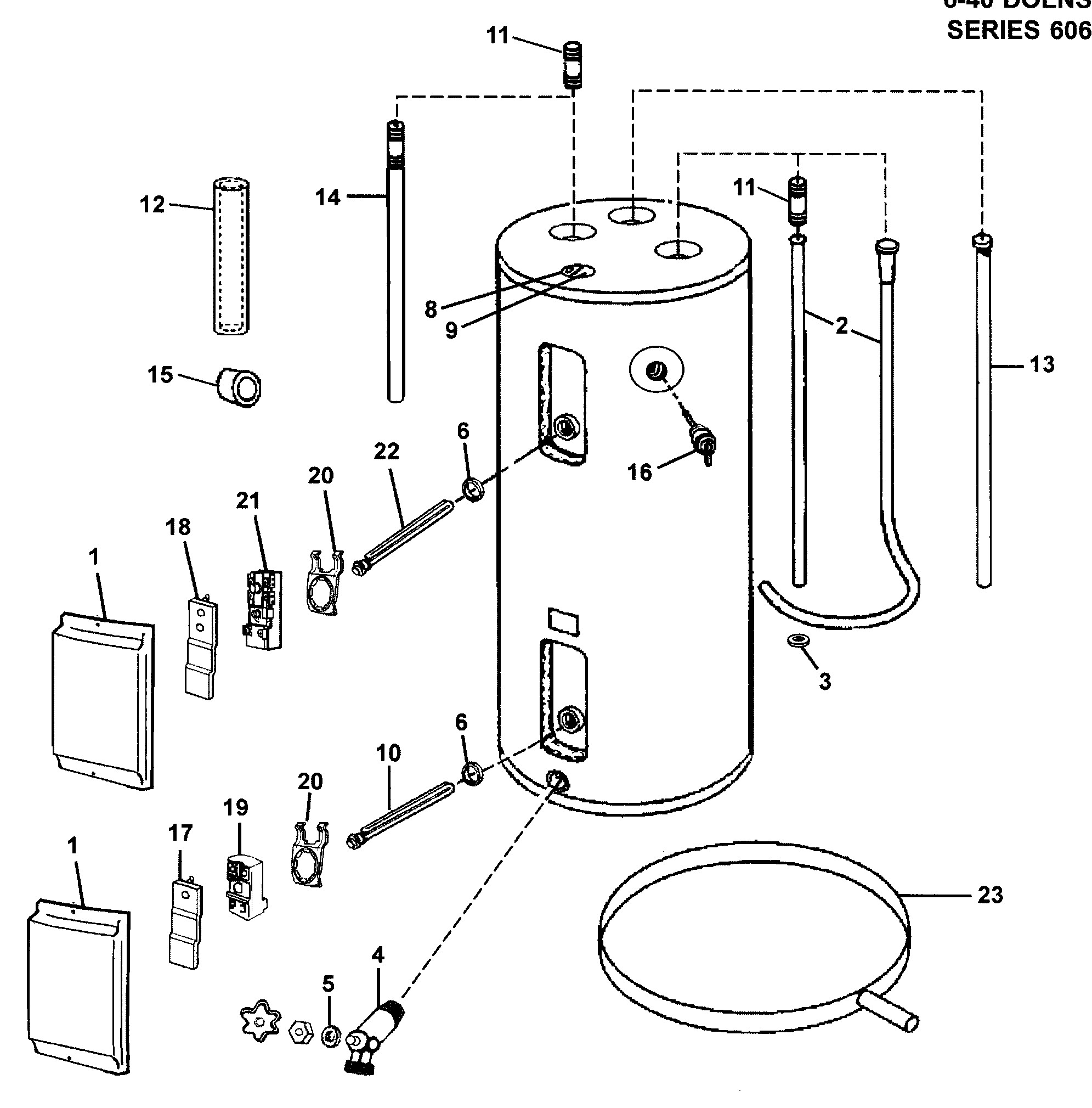 electric water heater parts diagram reliance model 640dort