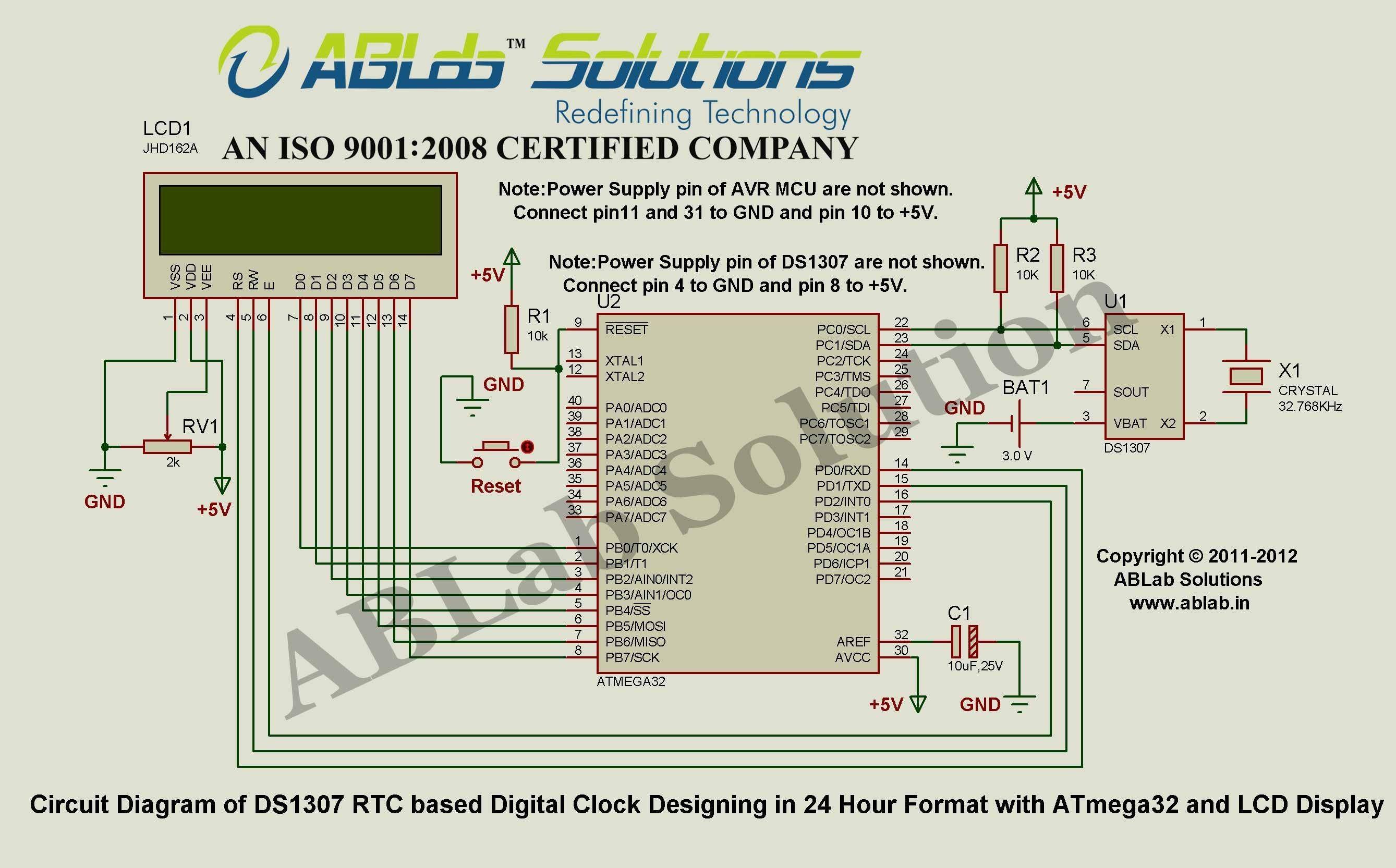Engineering Block Diagram Ds1307 Rtc Based Digital Clock Designing In 24 Hour format with Avr Of Engineering Block Diagram
