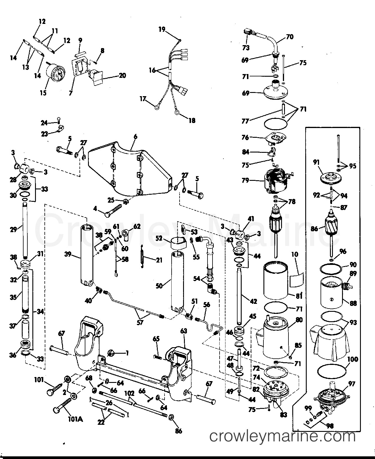 Evinrude Outboard Parts Diagram Power Tilt and Trim 50 Hp 1974 Rigging Parts Accessories Of Evinrude Outboard Parts Diagram