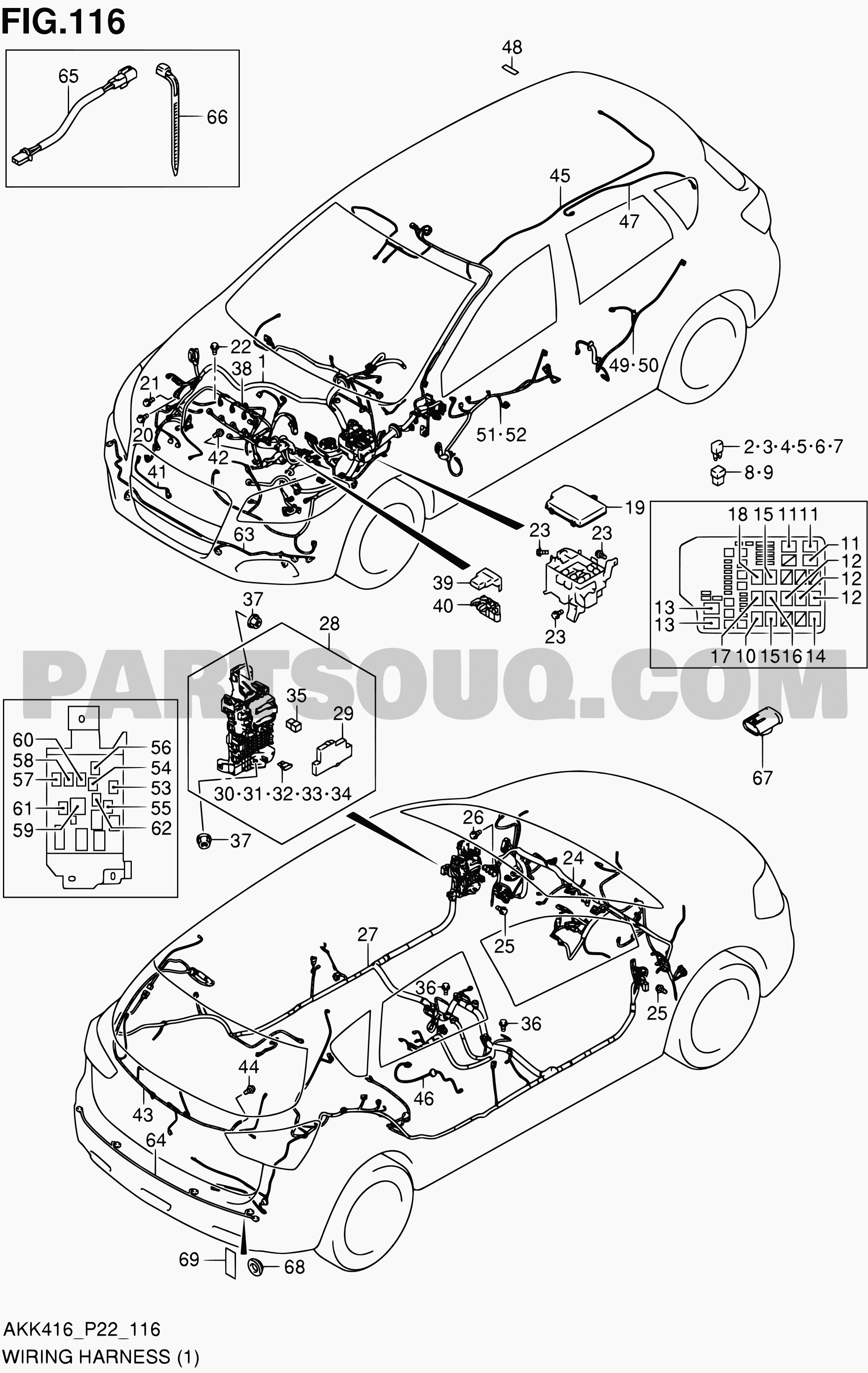Exterior Car Parts Diagram 116 Wiring Harness M16a Lhd Sx4 M16a Akk416 Suzuki Of Exterior Car Parts Diagram