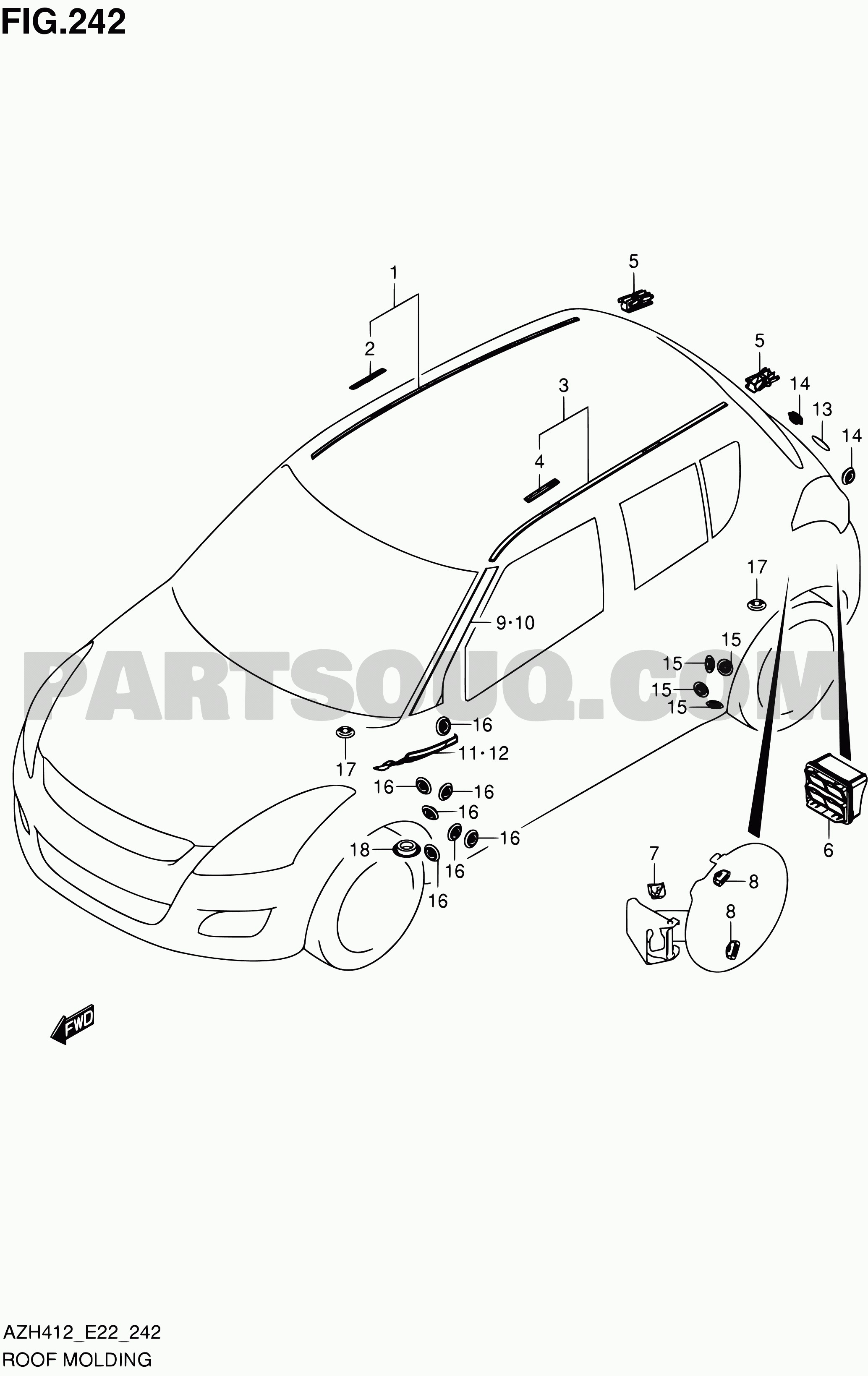 Exterior Car Parts Diagram 242 Roof Molding Swift Azh412 Azh412 E22 Suzuki Of Exterior Car Parts Diagram