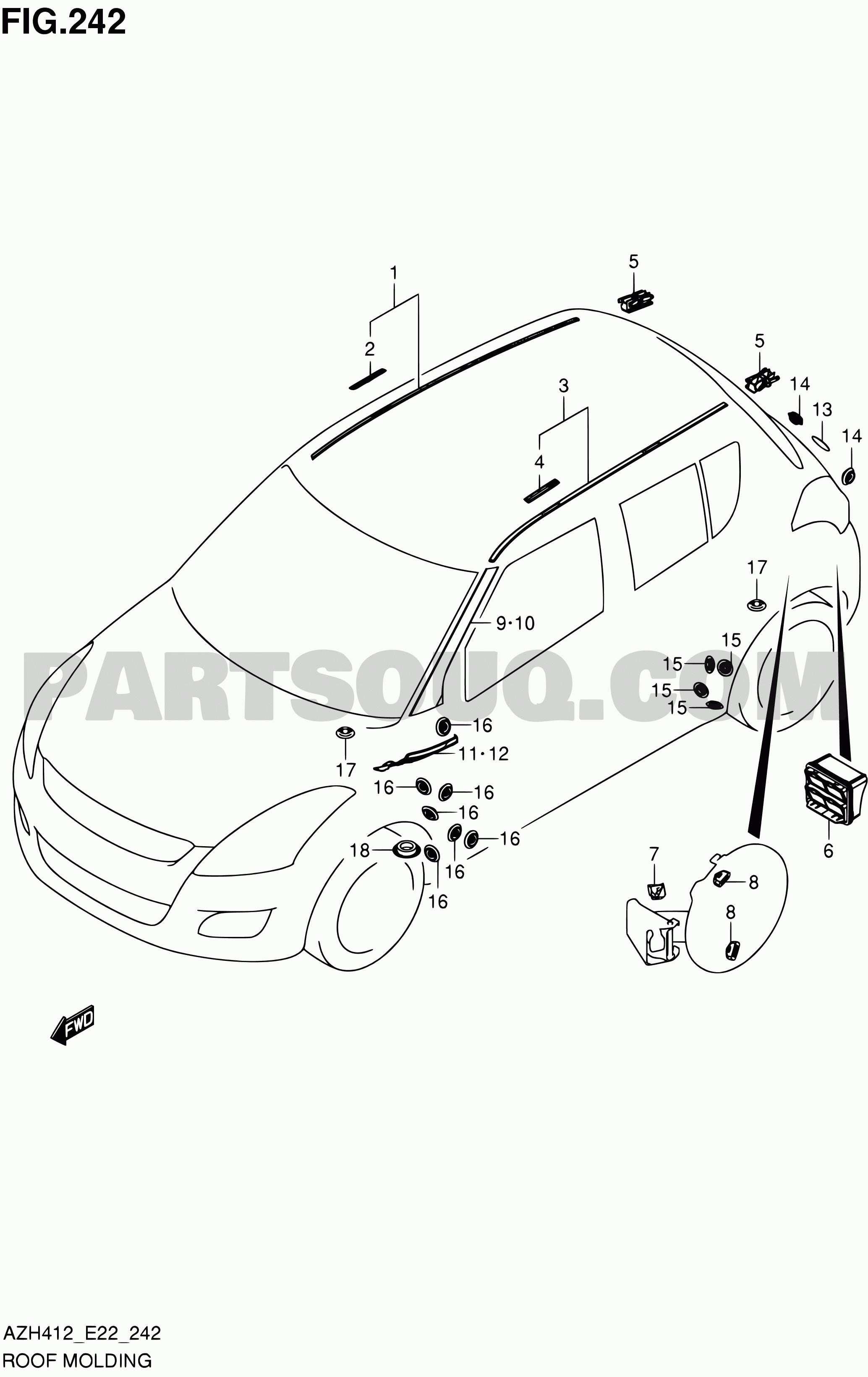 exterior car parts diagram 242 roof molding swift azh412