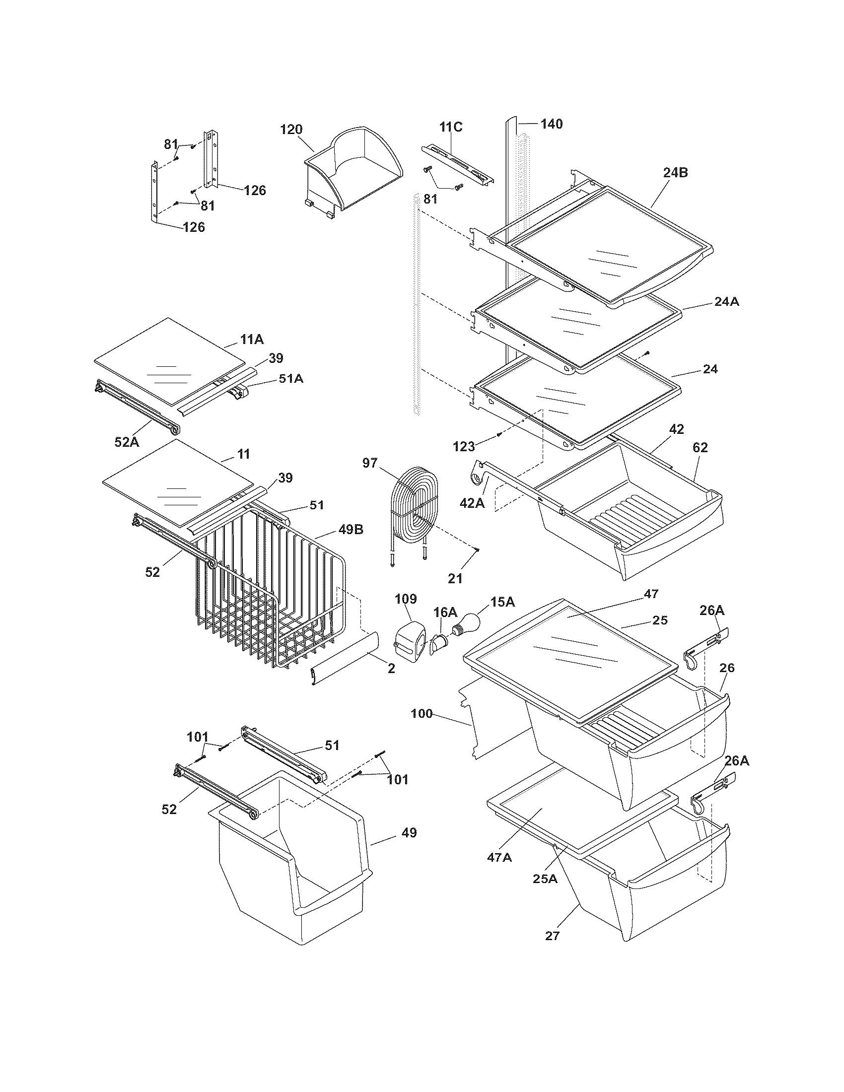 Frigidaire Gallery Refrigerator Parts Diagram Frigidaire Model Phs67ehsb6 Side by Side Refrigerator Genuine Parts Of Frigidaire Gallery Refrigerator Parts Diagram