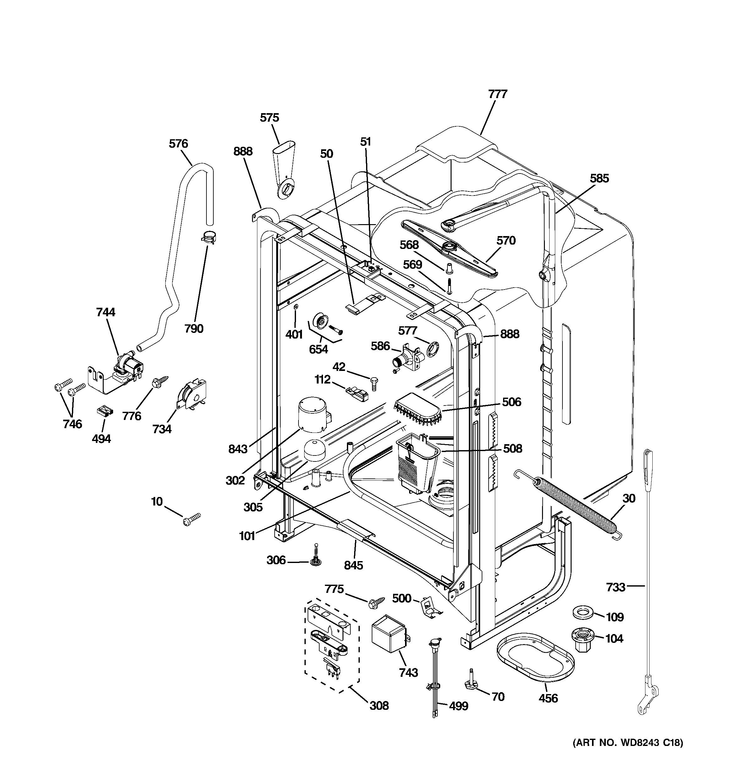 Ge Quiet Power 3 Parts Diagram Ge Dishwasher Parts Model Gld5868v00ss Of Ge Quiet Power 3 Parts Diagram