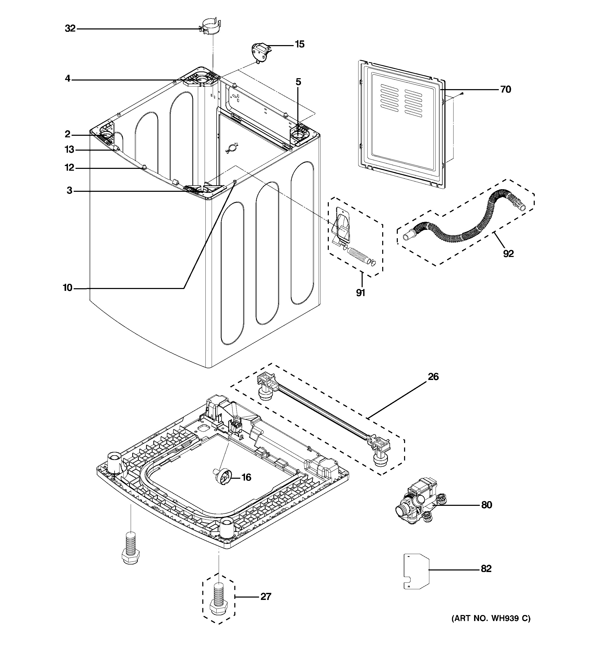 Ge Quiet Power 3 Parts Diagram Ge Washer Parts Model Ptwn8050m0ww Of Ge Quiet Power 3 Parts Diagram
