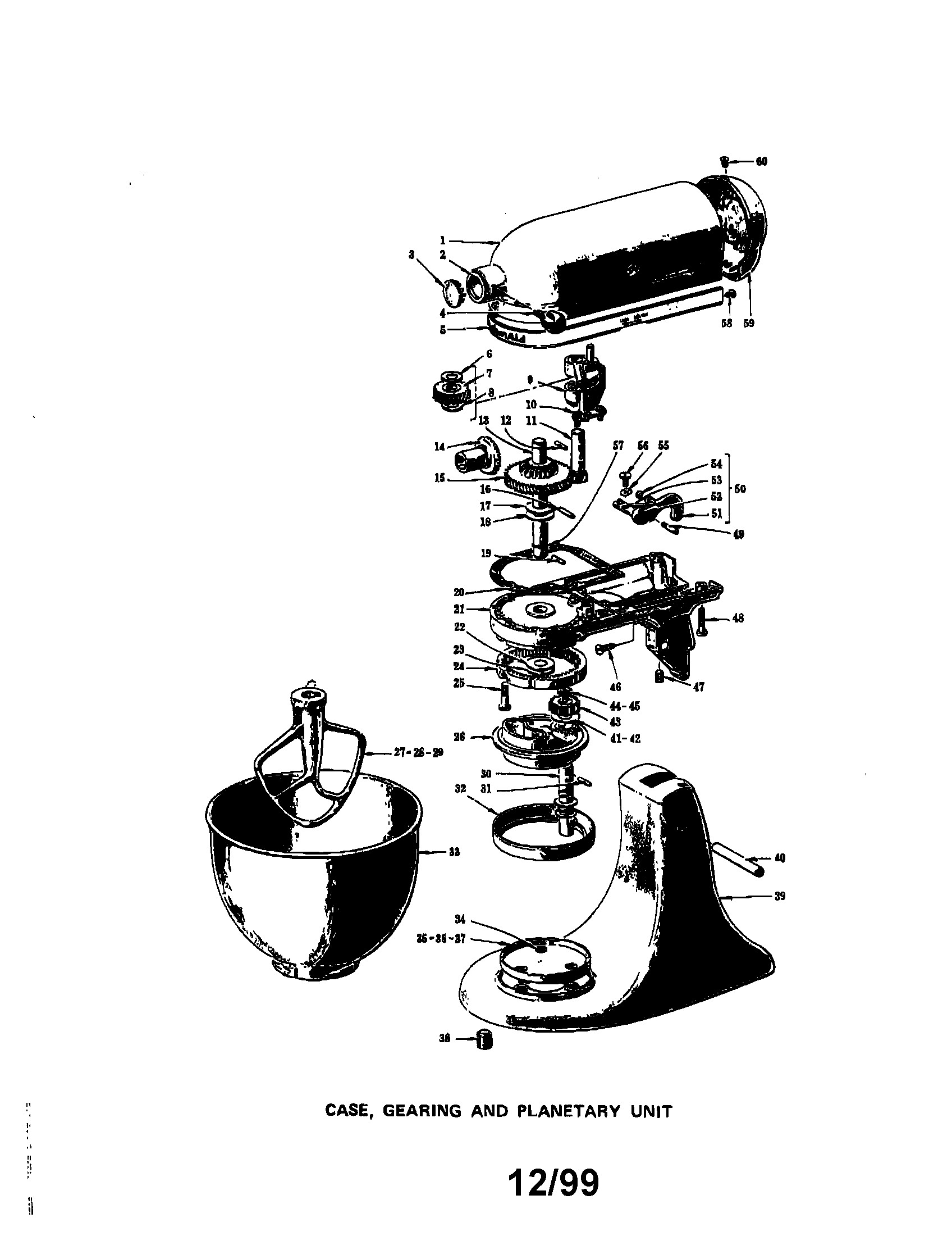 hobart mixer parts diagram
