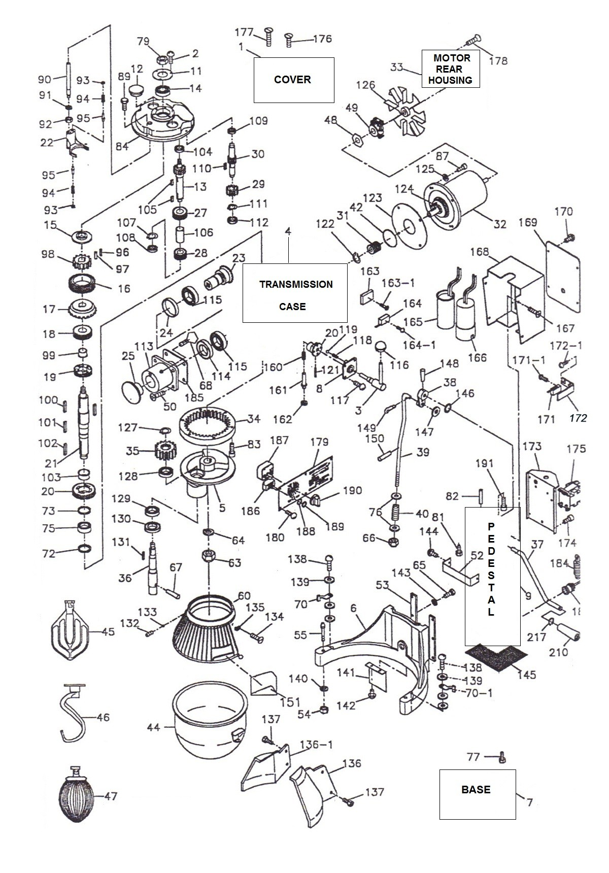hobart mixer parts diagram parts town  u2013 thunderbird arm 02