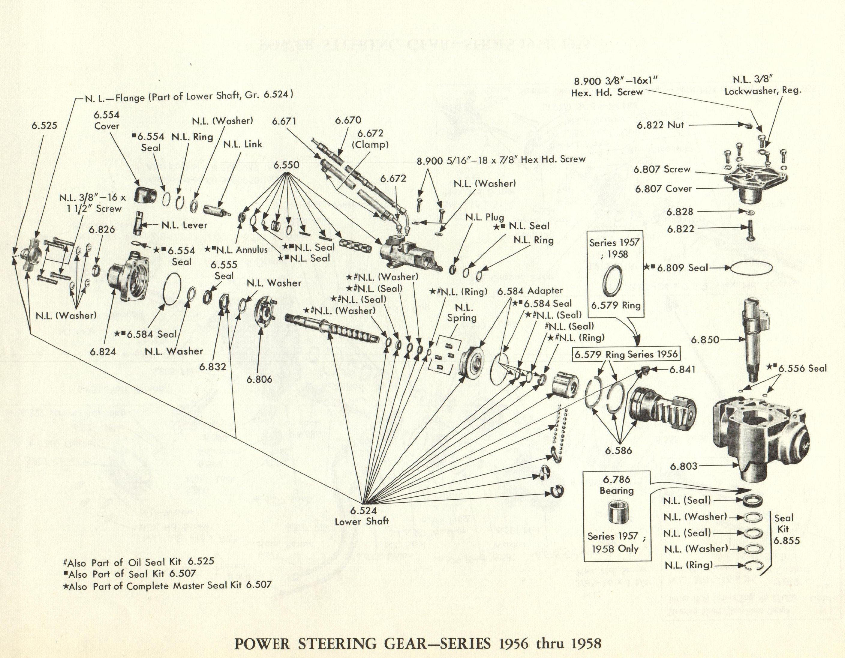 Hydraulic Steering Diagram 1956 1957 1958 Cadillac Power Steering Gear Cadillac Parts Line Of Hydraulic Steering Diagram