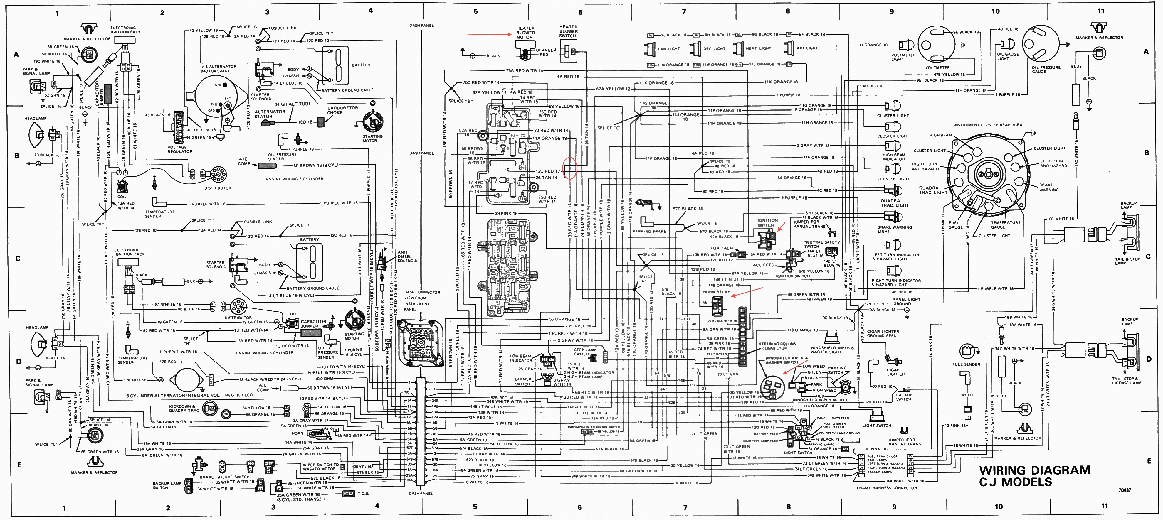 Jeep 4 0 Engine Diagram My Wiring Cj7 Harness Charge Indicator Light Oil Pressure Of