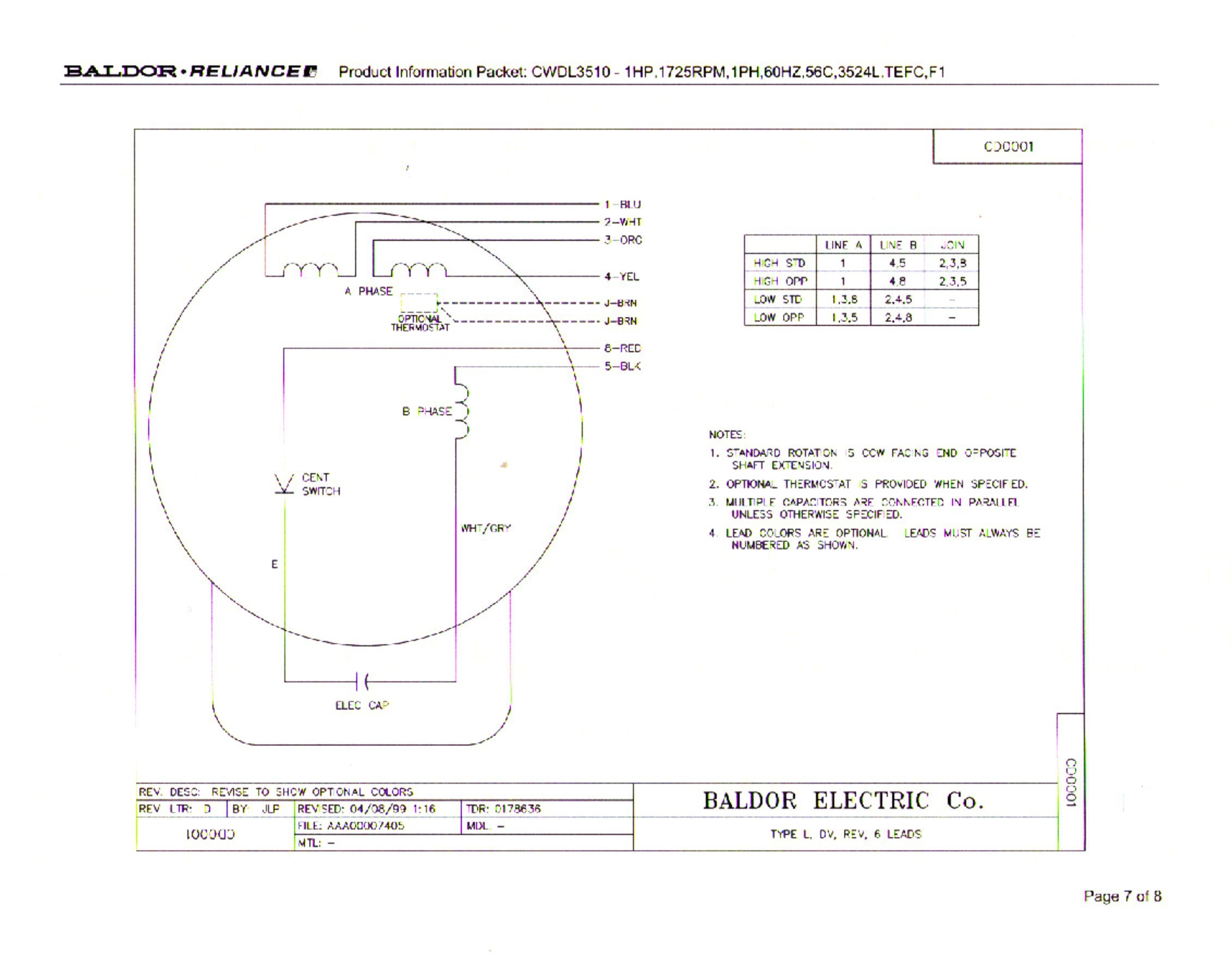 Leeson Electric Motor Wiring