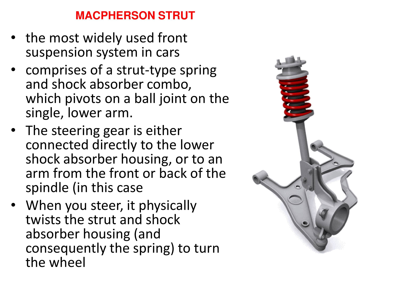 Macpherson Strut Diagram Suspension System In A Car Powerpoint Slides Of Macpherson Strut Diagram